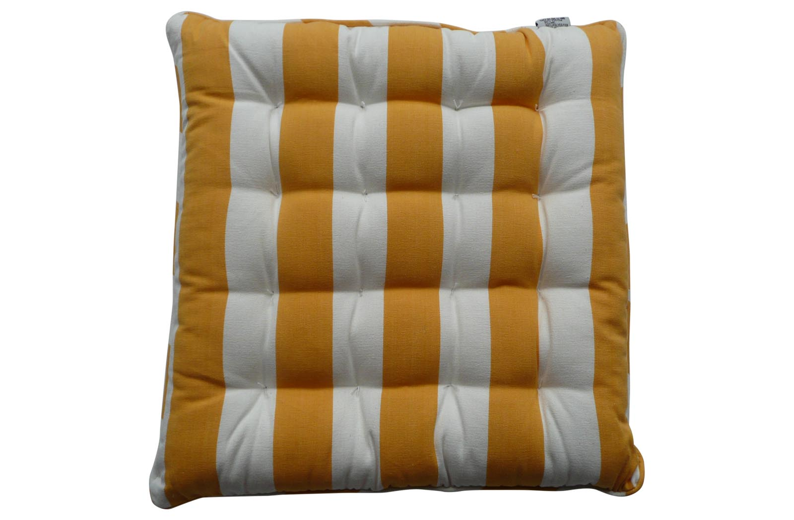 Striped Seat Pads with Piping yellow, white