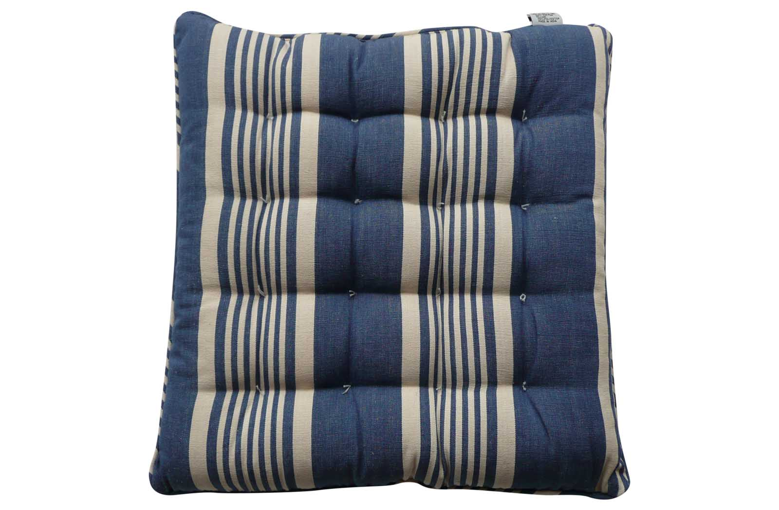 Striped Seat Pads with Piping navy, ivory, blue
