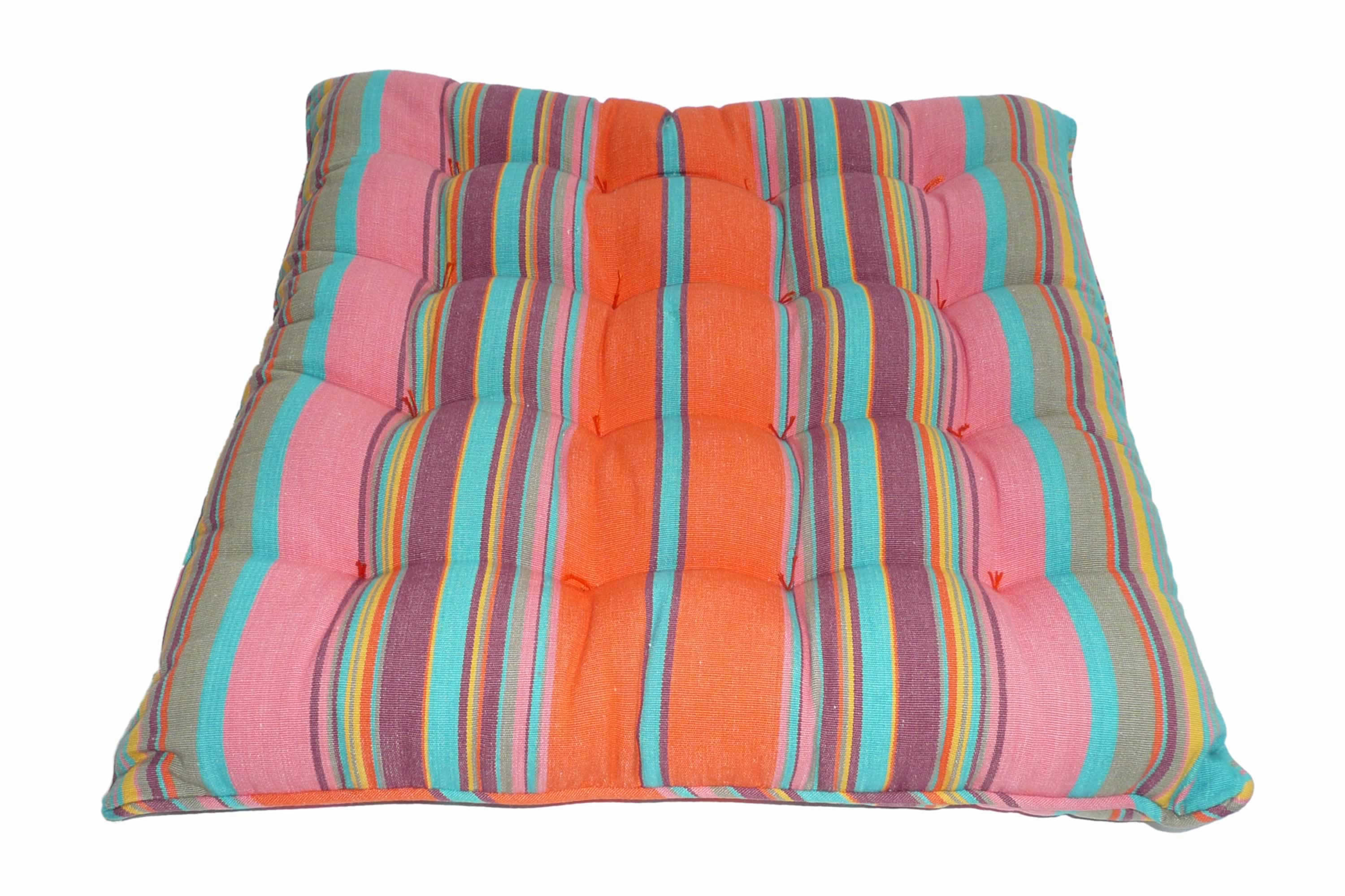turquoise, salmon pink, tangerine - Striped Seat Pads with Piping