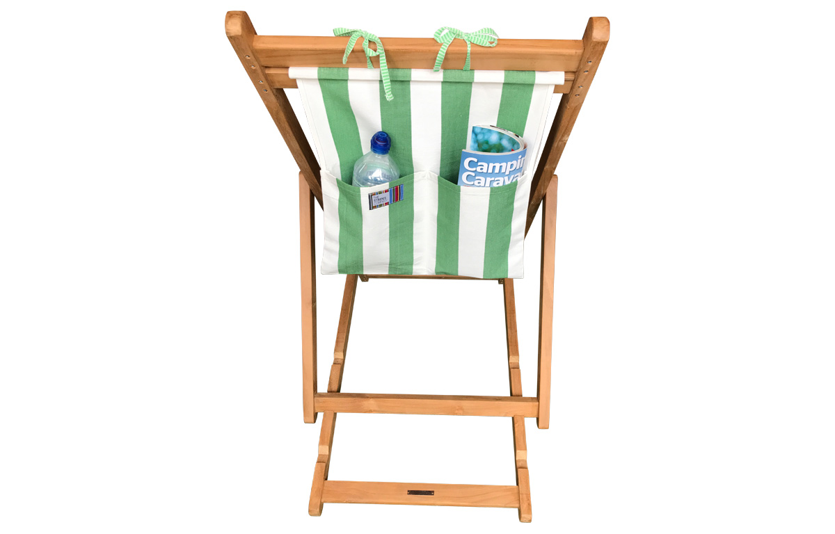 green and white- Teak Deckchair with Headrest and Pockets