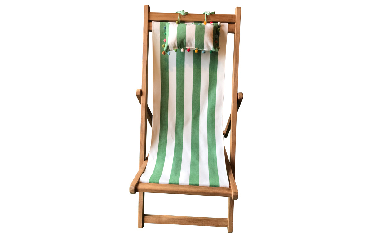 Classic Green and White Stripe Teak Deckchair with Headrest and Pockets