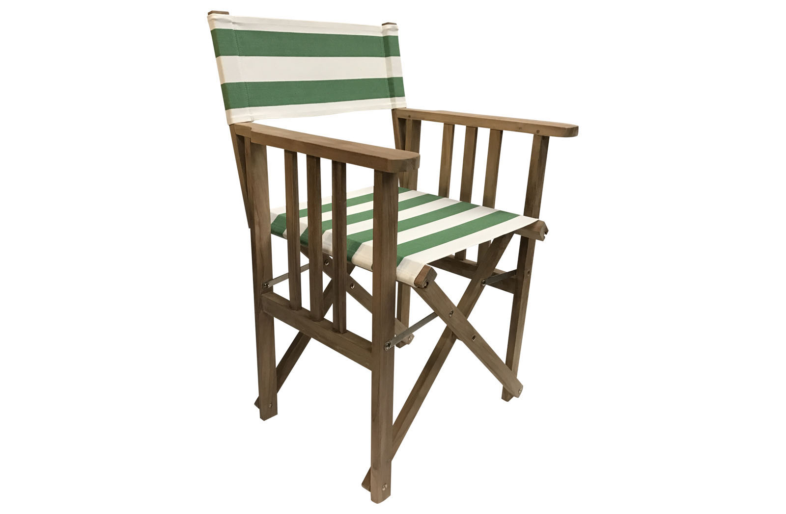 Green and White Stripe Teak Directors Chair - Pole Vault