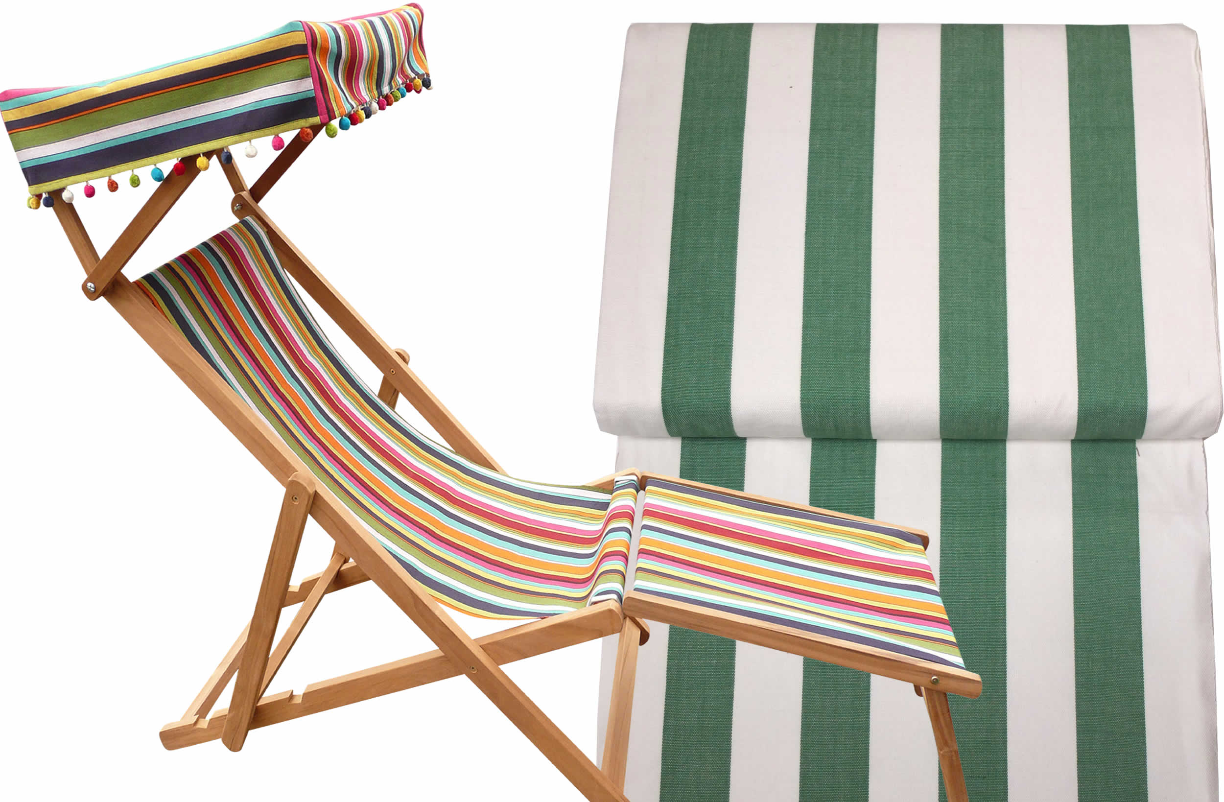 Edwardian Deckchairs with Canopy and Footstool green and white