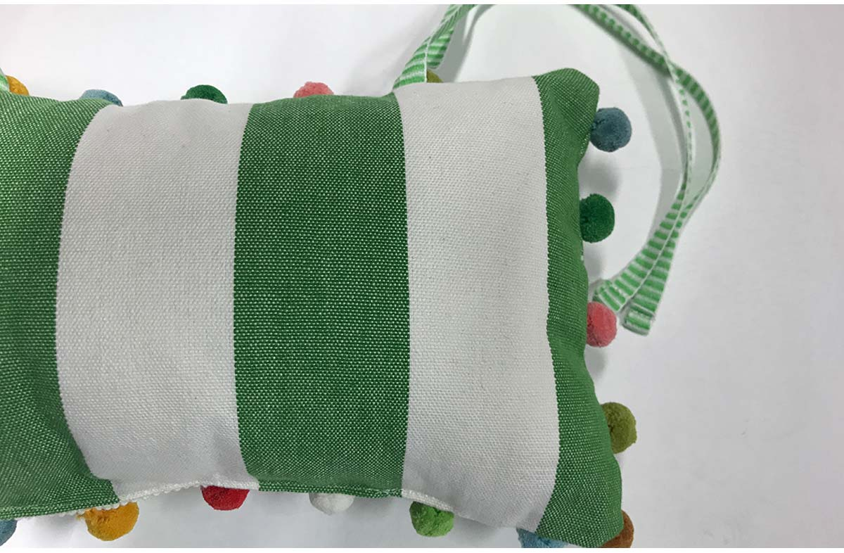 Green and White Stripe Headrests for Deckchairs | Tie on Pompom Headrest Pillow