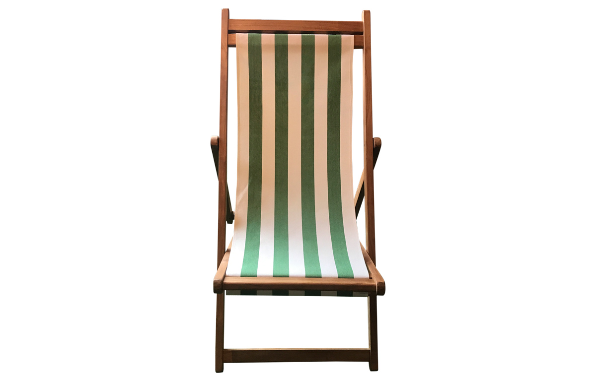 Green and White Stripe Premium Deck Chair