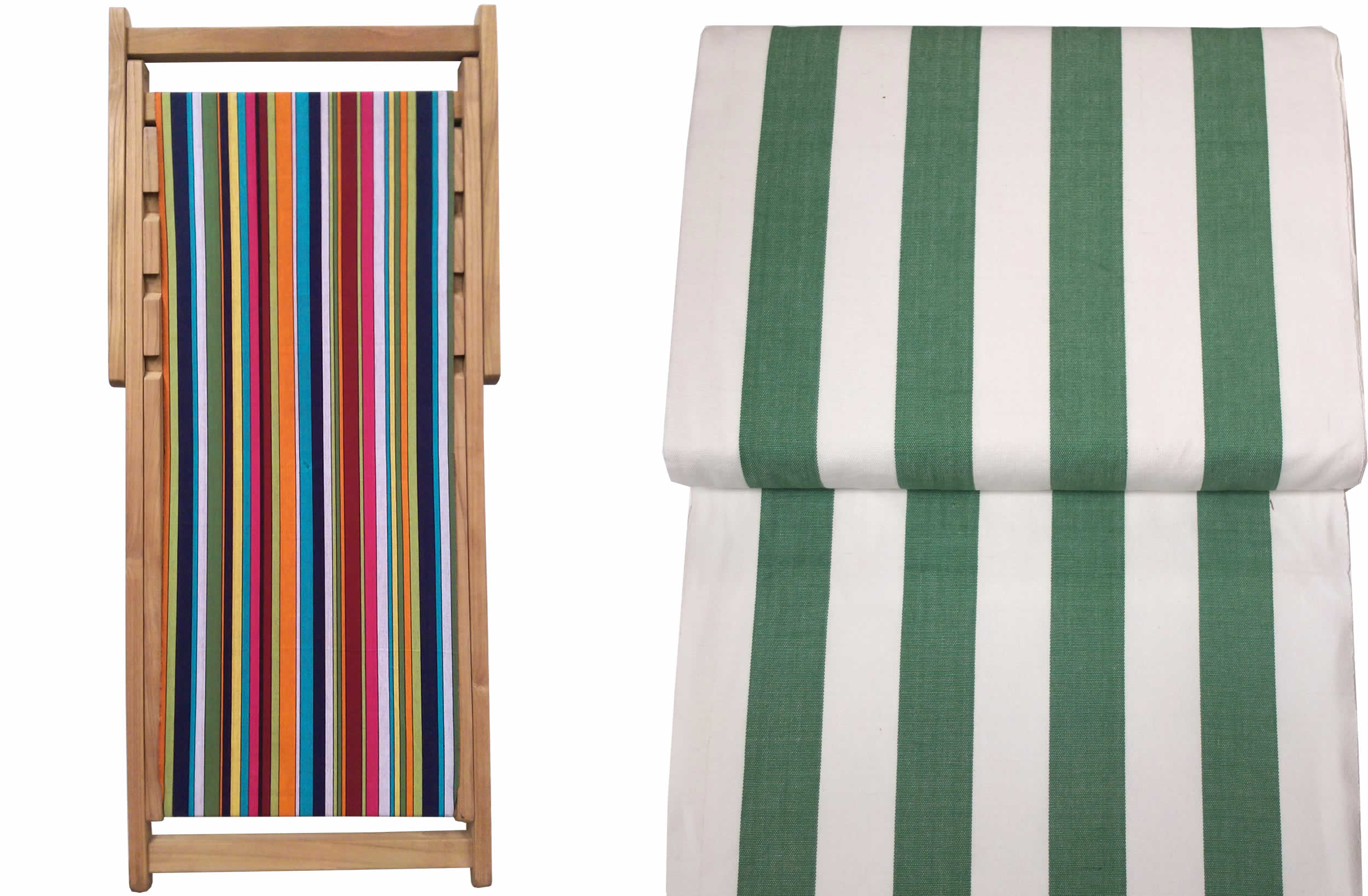 Teak Deck Chairs green and white stripes