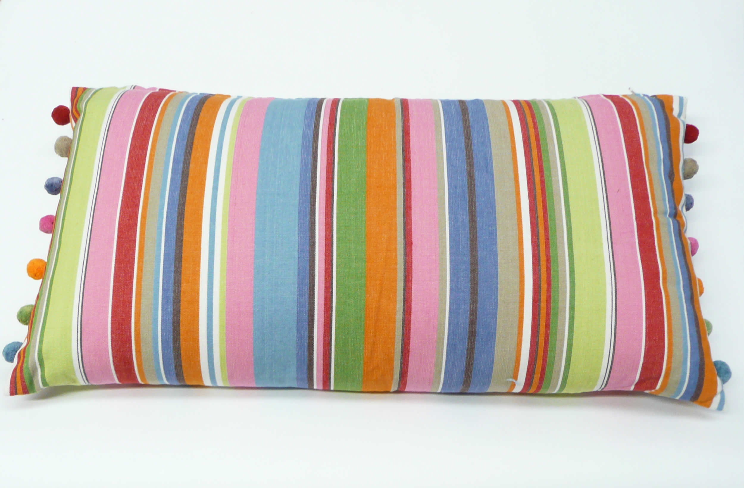 Blue and Pink Stripe Oblong Cushion with Pompom Trim