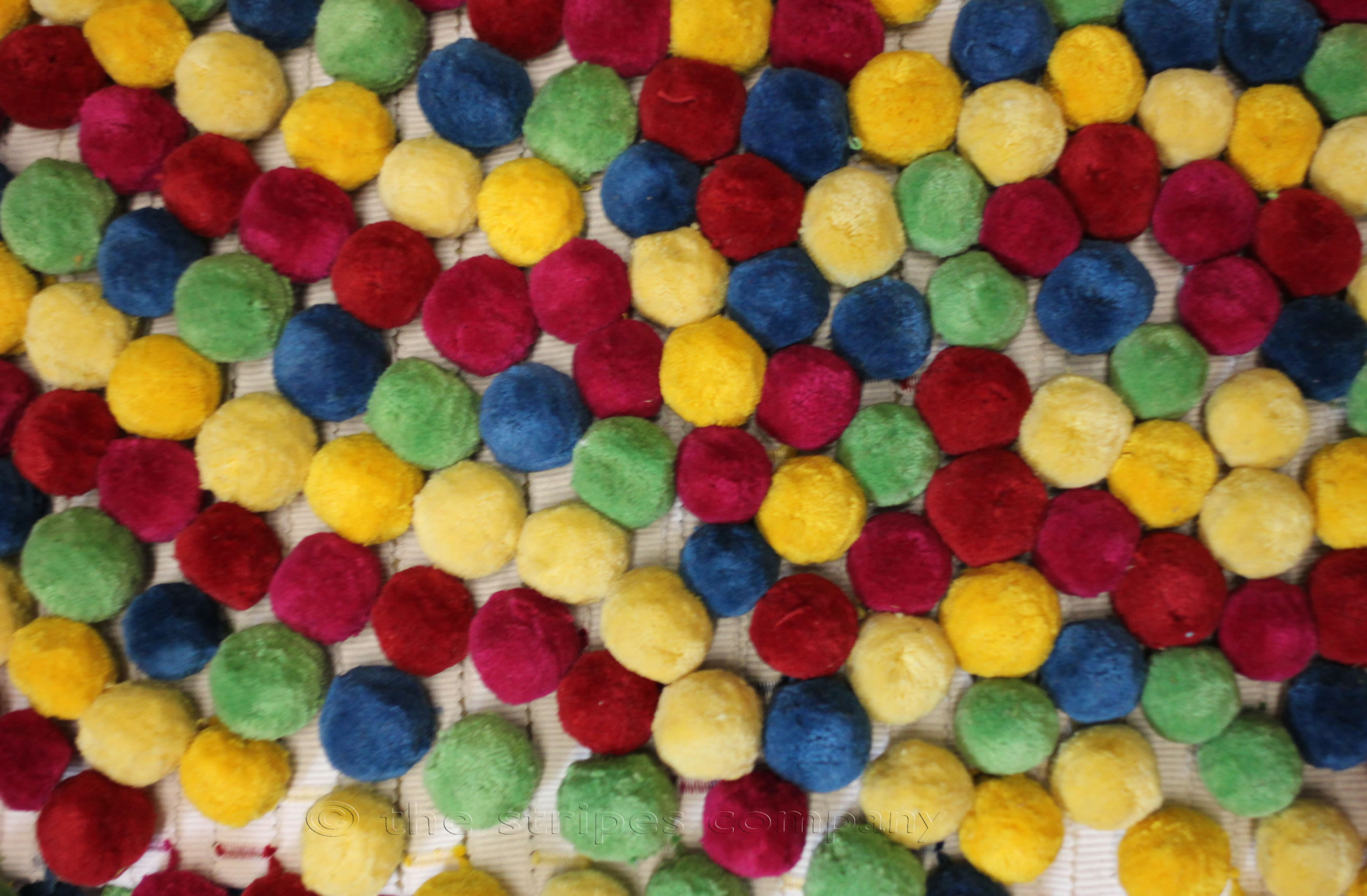Large Multi Coloured Bobble Fringe - Pink  Green  Yellow Blue Red Pompoms on white tape