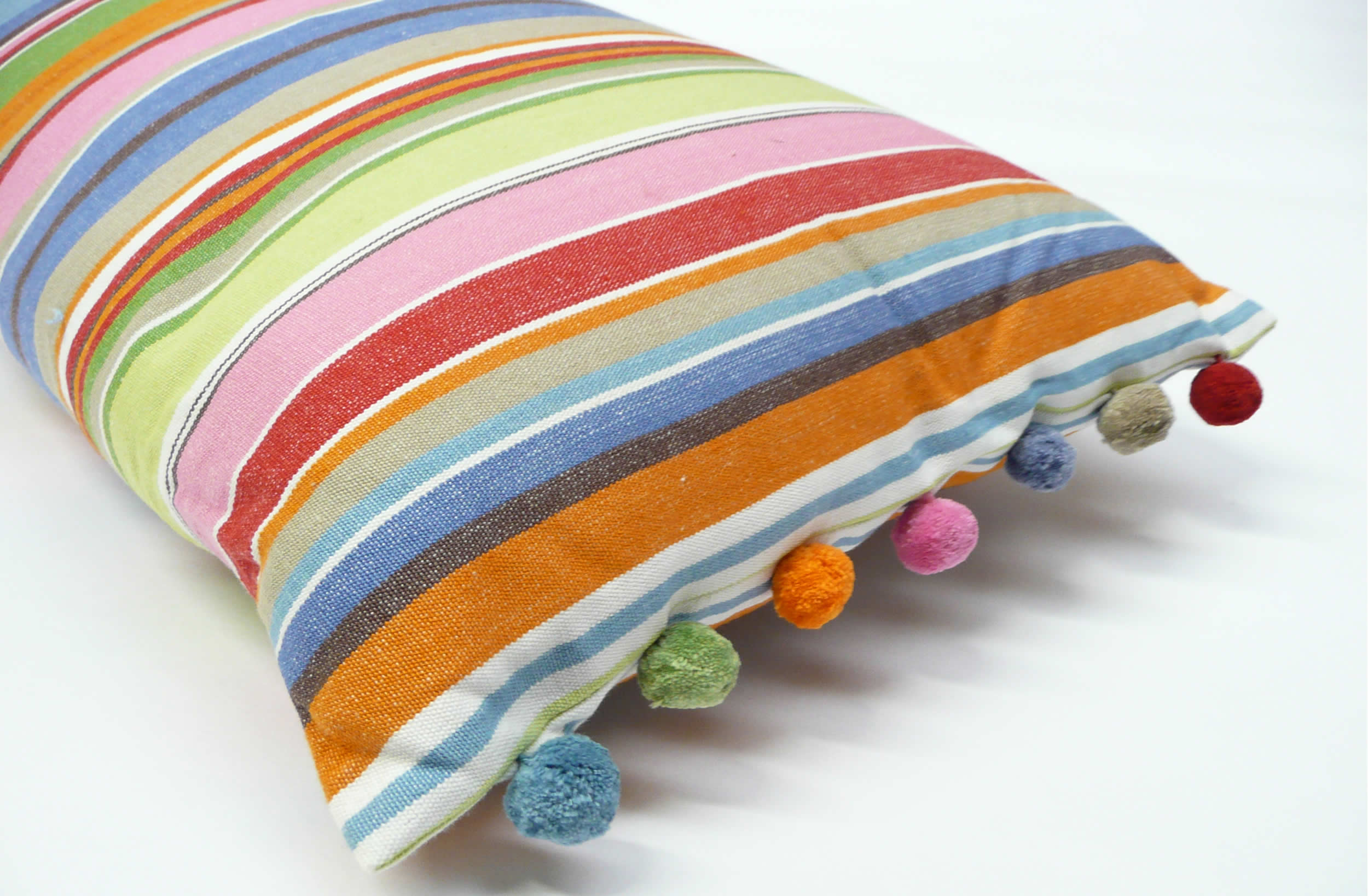 Well-known Blue and Pink Stripe Oblong Cushion with Pompom Trim | The Stripes  LA22