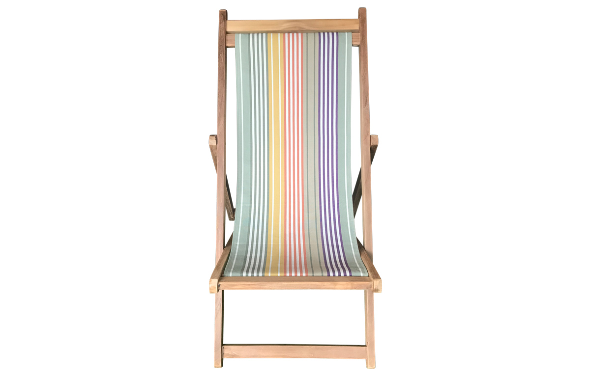 Sage Green Stripe Deck Chair - Premium Teak Hardwood Deck Chairs