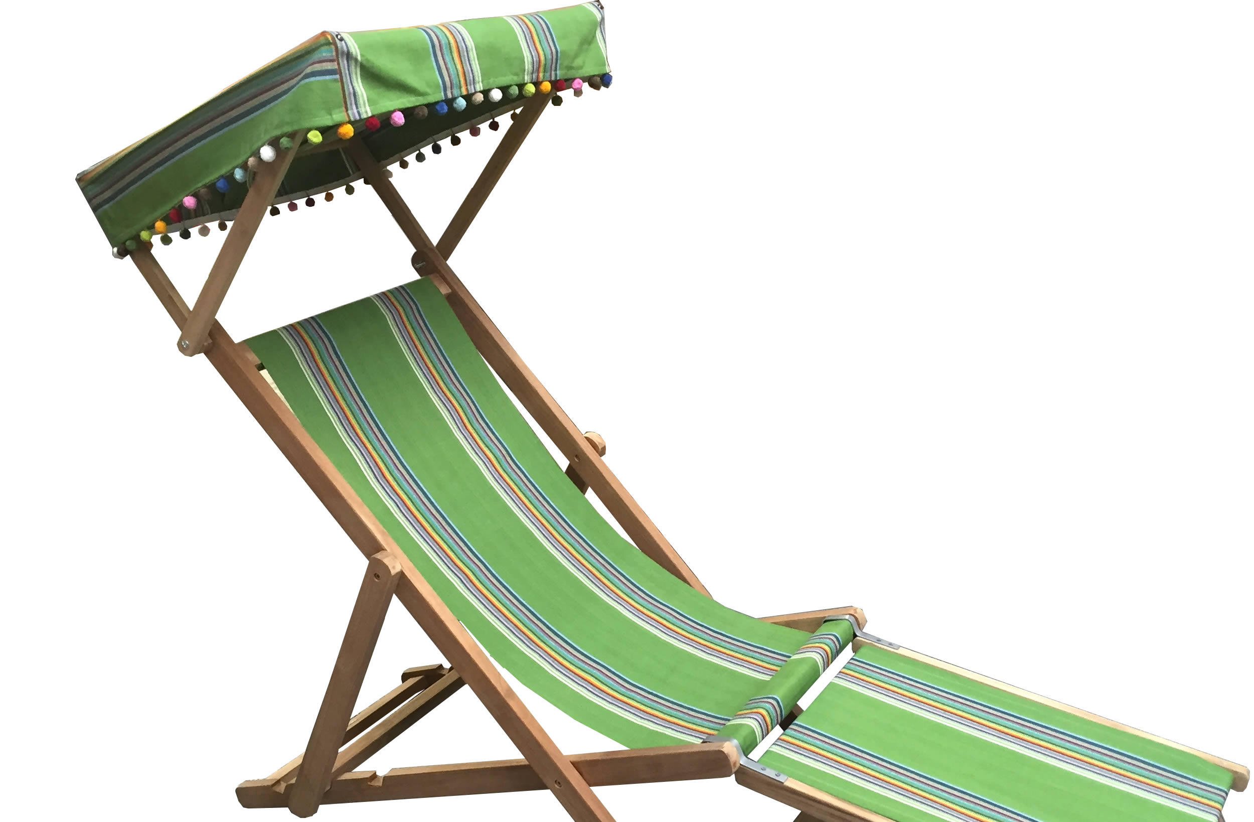 green, rainbow- Edwardian Deckchairs with Canopy and Footstool