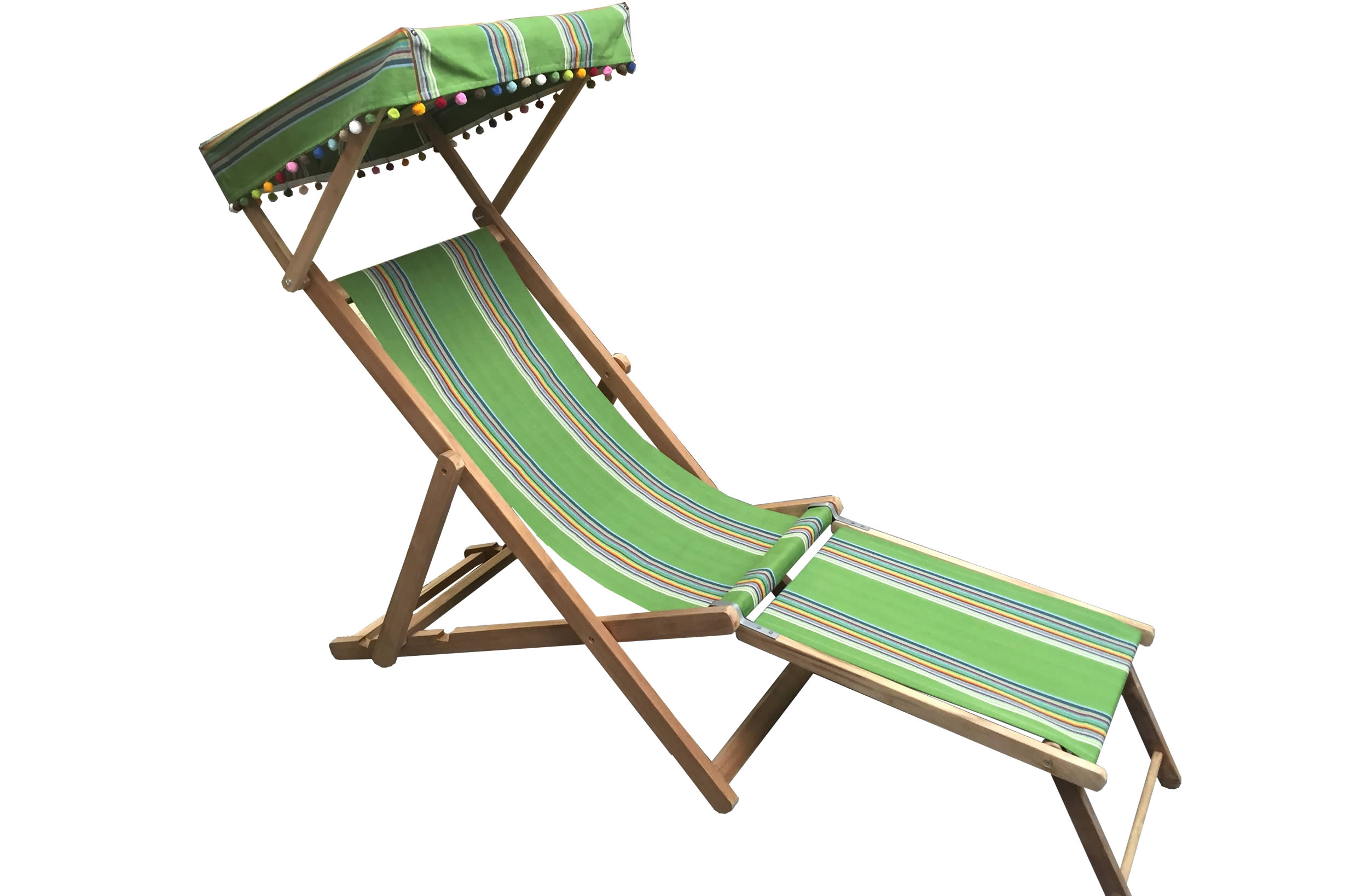 Edwardian Deckchairs with Canopy and Footstool green, rainbow