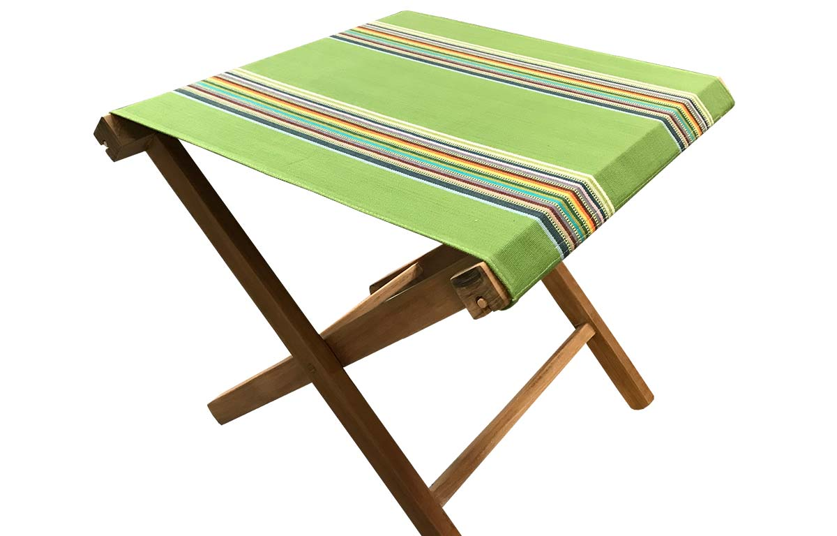 Teak Folding Wooden Stool With Grass Green Striped Seat