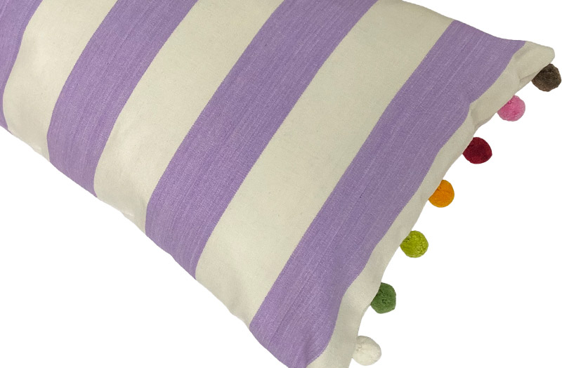 Lilac, ivory- Striped Oblong Cushions with Bobble Fringe