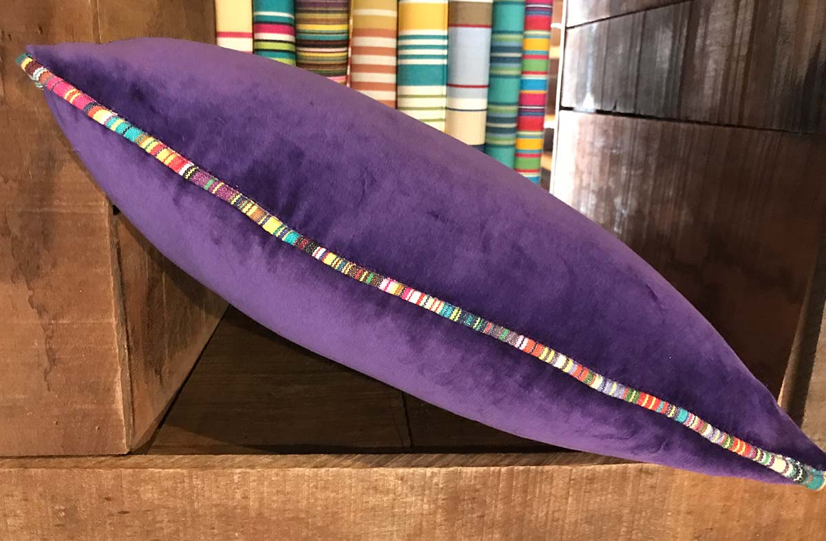 Purple Velvet Cushion with Stripe Piping