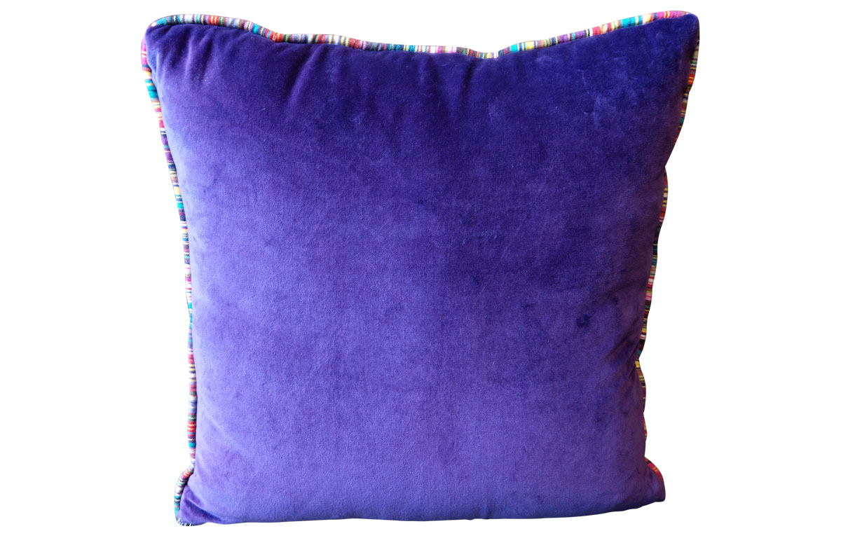 Cushion with Stripe Piping- Purple Velvet Cushions and Home Accessories