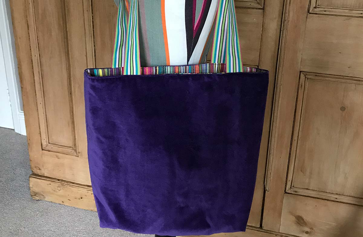 Purple Velvet Reversible Tote Bag