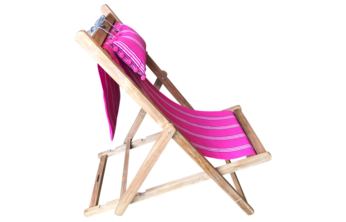 Bright Pink Stripe Teak Deckchair with Headrest and Pockets