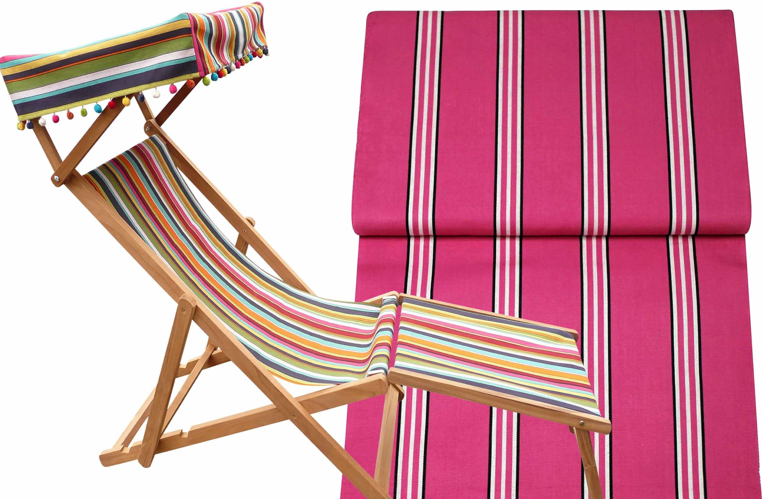 Racquets Bright Pink Edwardian Deckchairs with Canopy and Footstool