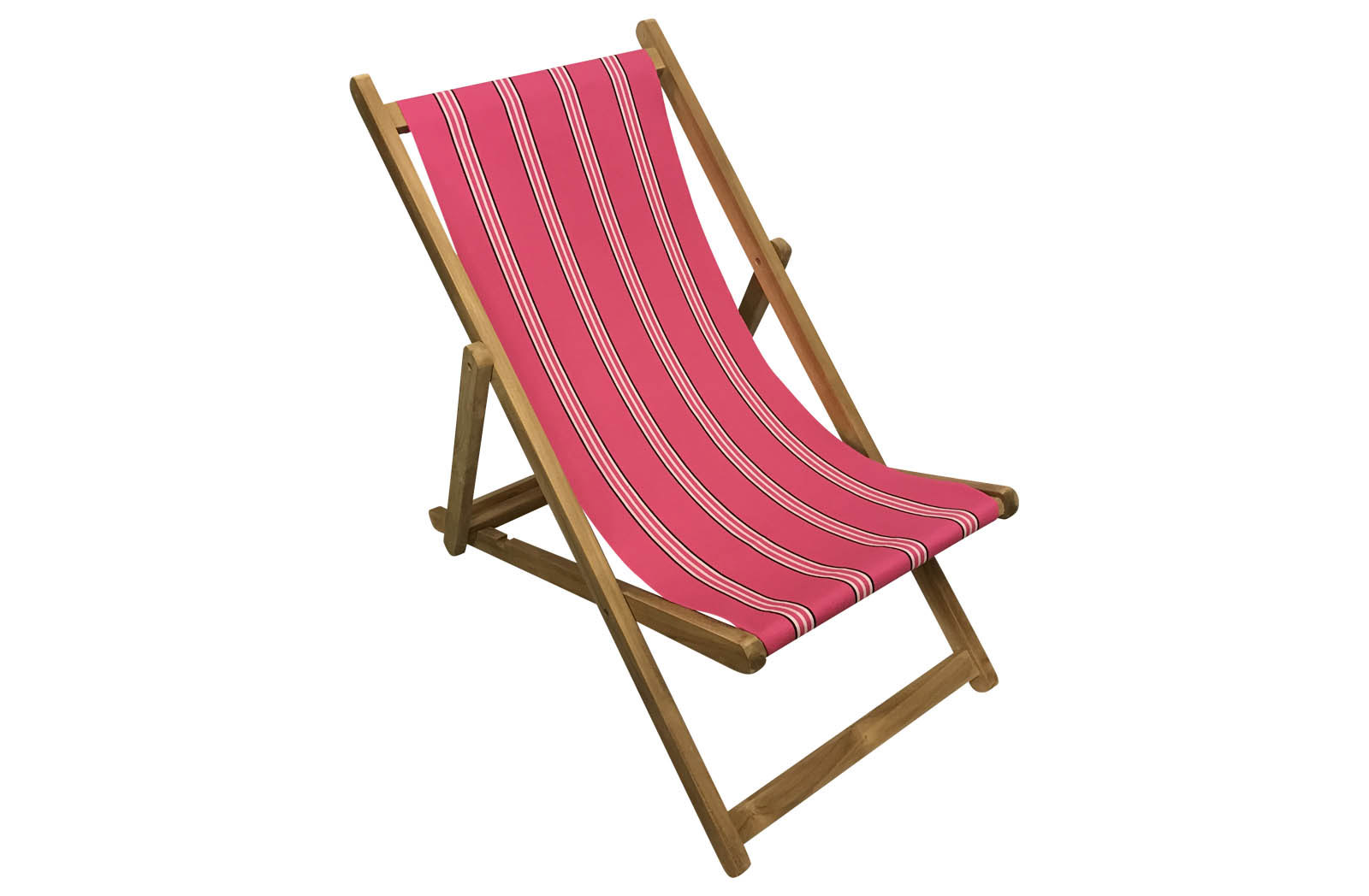 Cerise Pink Deckchairs | Wooden Folding Deck Chairs Racquets Stripes