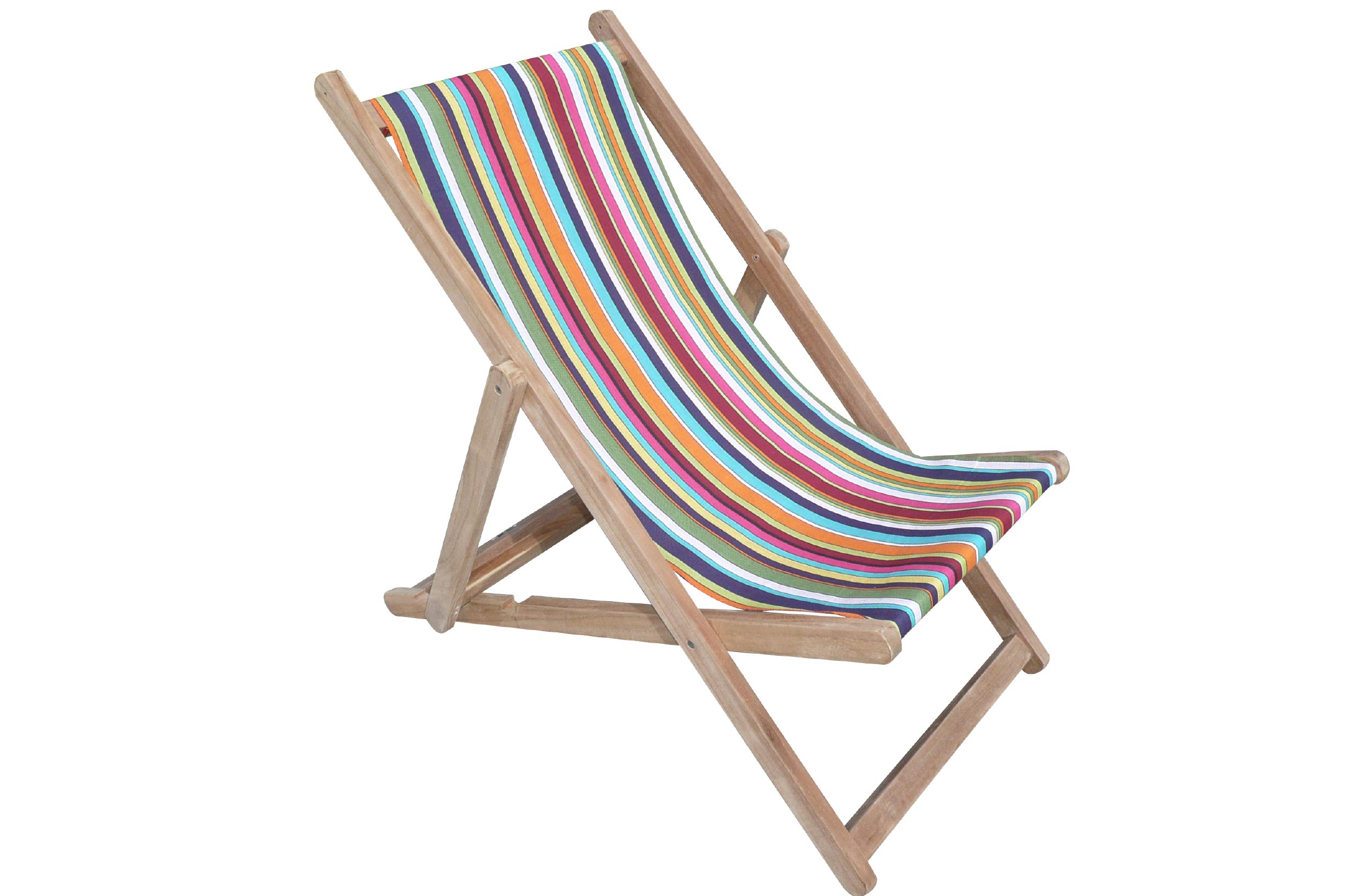 Rainbow Striped Deckchairs | Wooden Folding Deck Chairs Paintballing Stripes