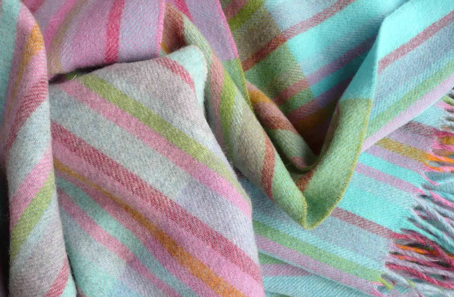 Rainbow Stripe Lambswool Throws