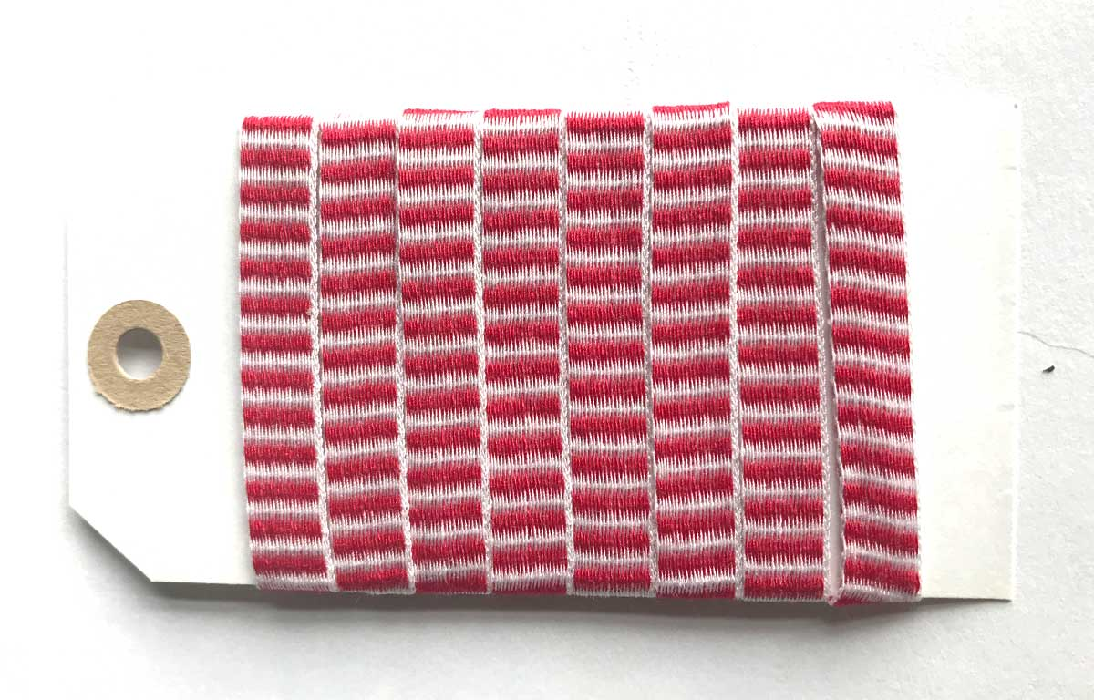 Red and White Striped Woven Cotton Tape