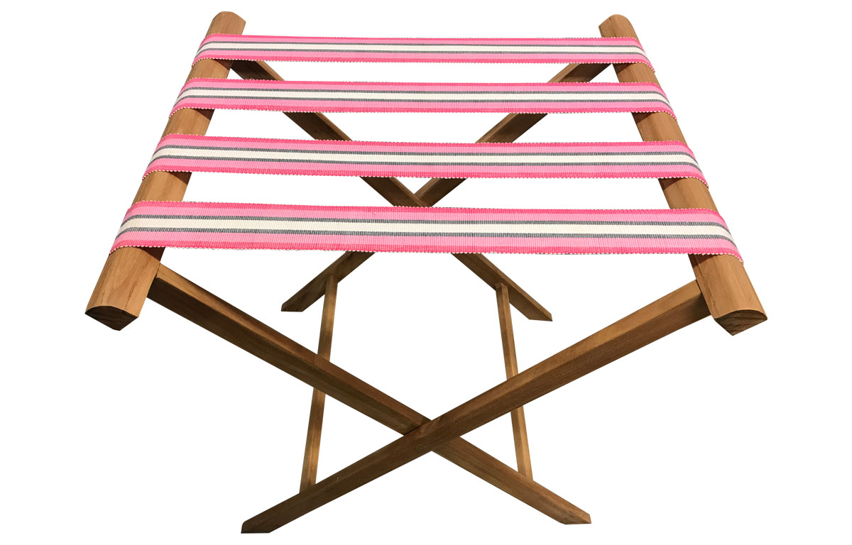 Folding Luggage Racks with Pink Striped Webbing