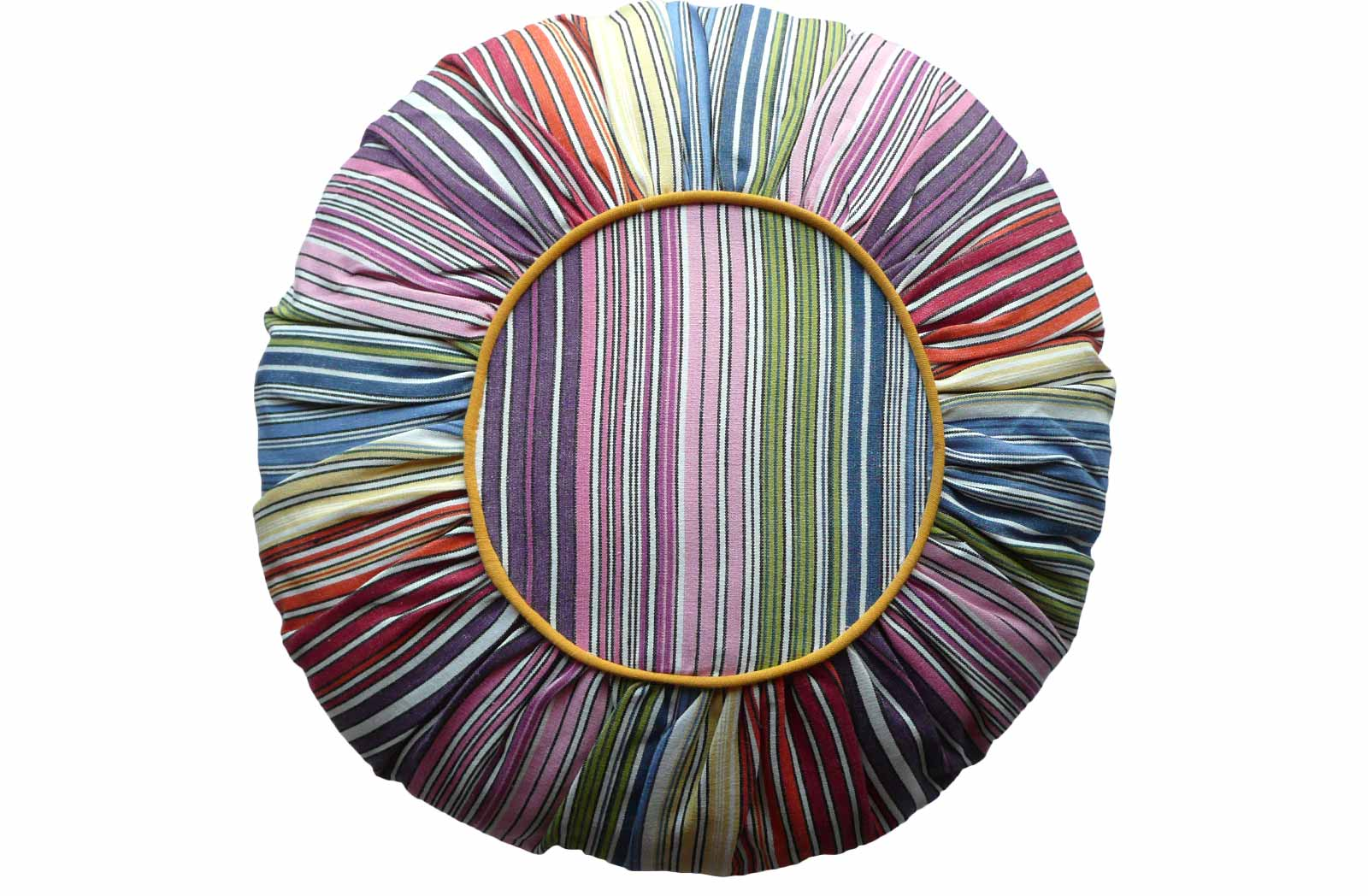 Multi Stripe Round Cushions narrow rainbow multi stripe, white
