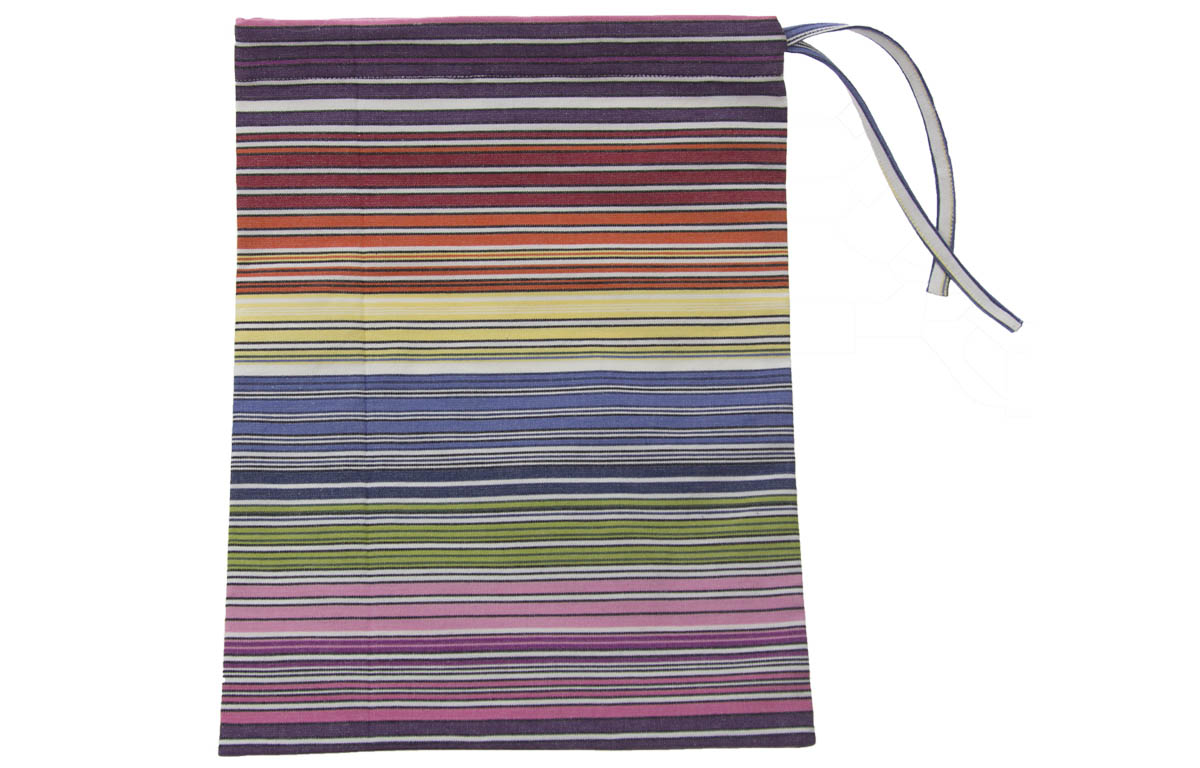 Drawstring Shoe Bags | Striped Shoe Bags narrow rainbow multi stripe, white