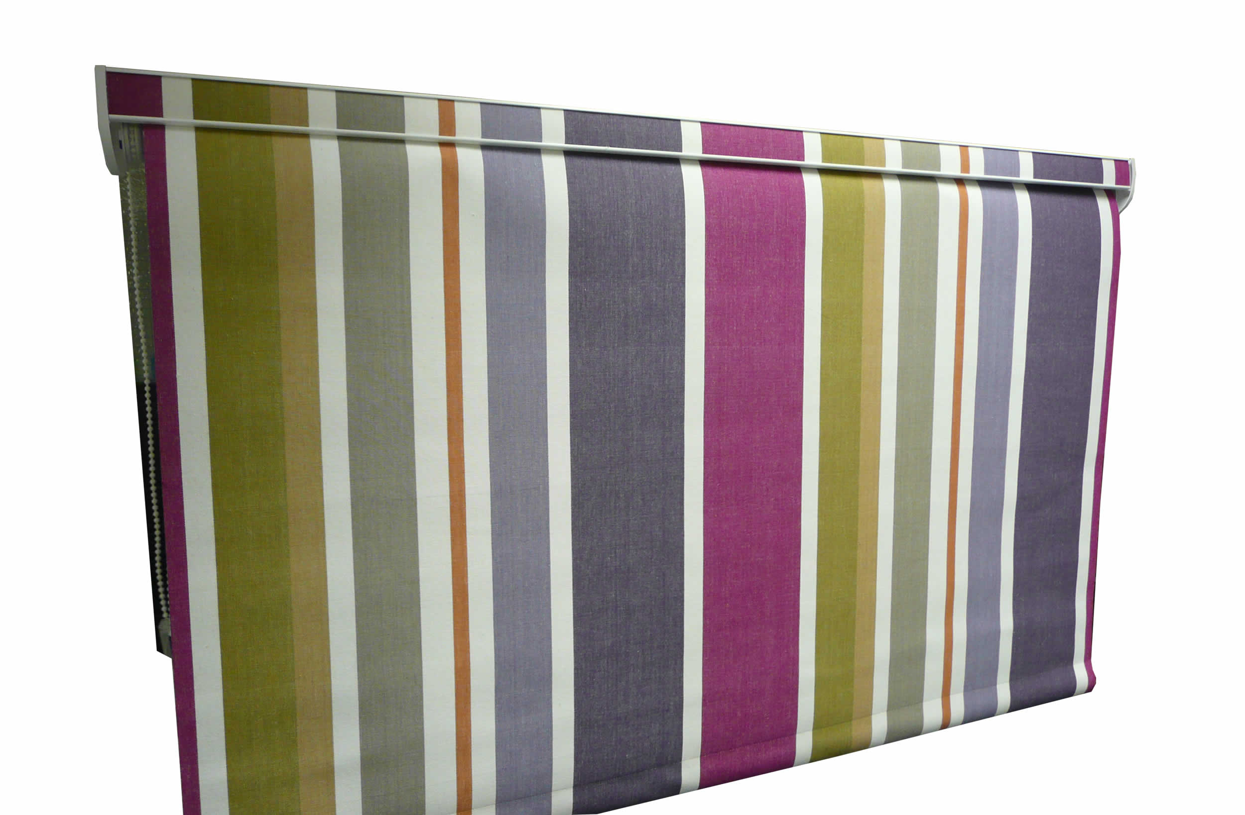 Striped Roller Blind With Fabric Covered Pelmet