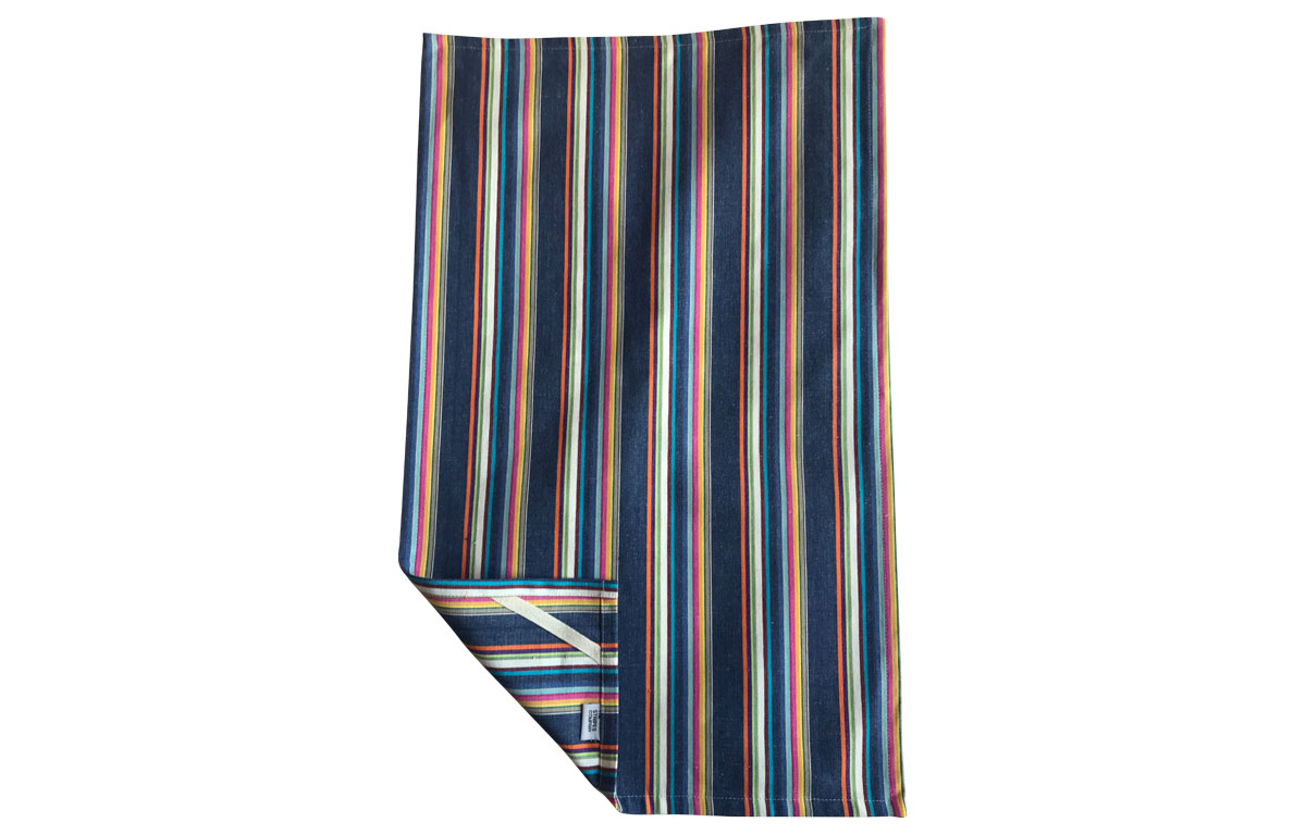 Navy Blue Striped Tea Towels