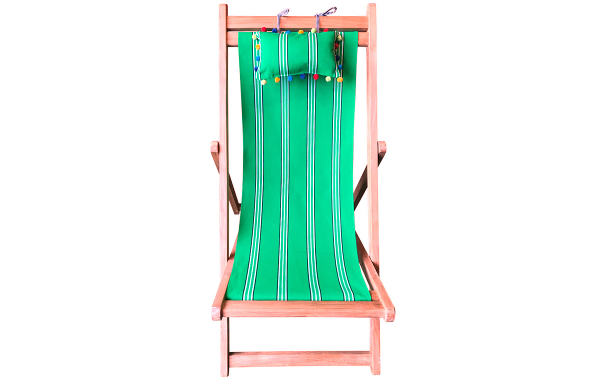 Emerald Green Teak Deckchair with Headrest and Pockets
