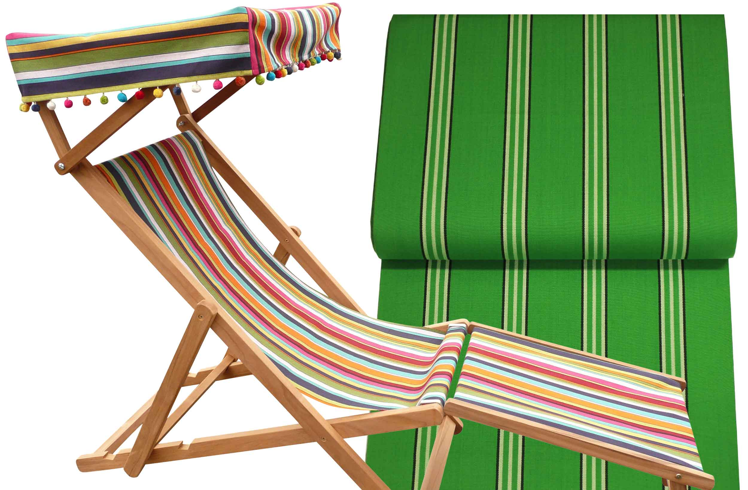 Edwardian Deckchairs with Canopy and Footstool emerald green