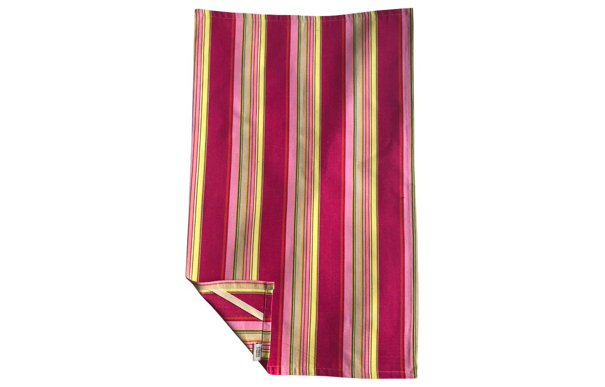 Bright Pink Stripe Tea Towels