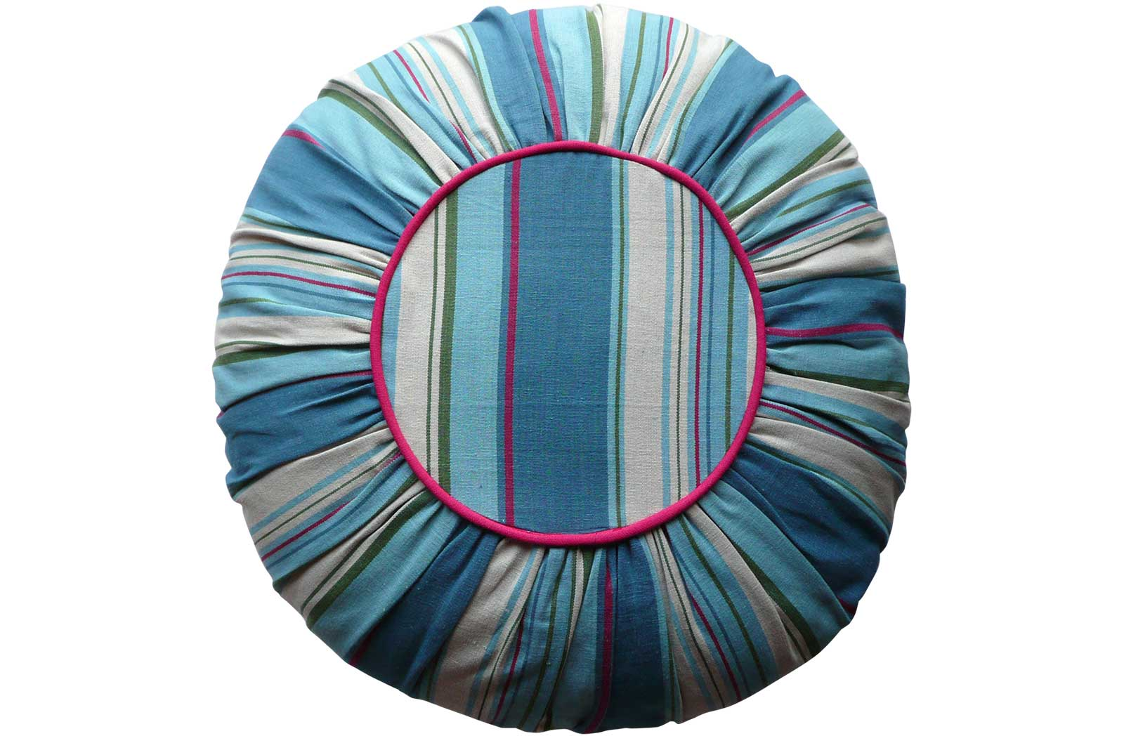 Coastal Stripe Round Cushions with petrol blue, pale blue, cream stripes