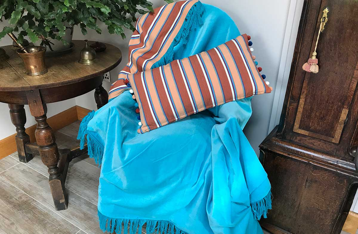 Reversible Turquoise Velvet Fringed Throw with Chestnut, Turquoise Stripe Cotton on Reverse