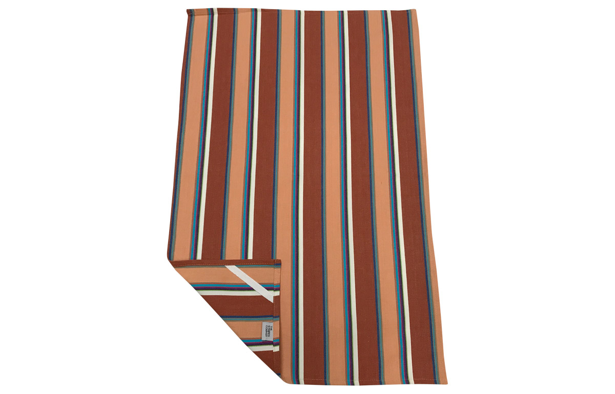 Chestnut Peach White Stripe Tea Towels