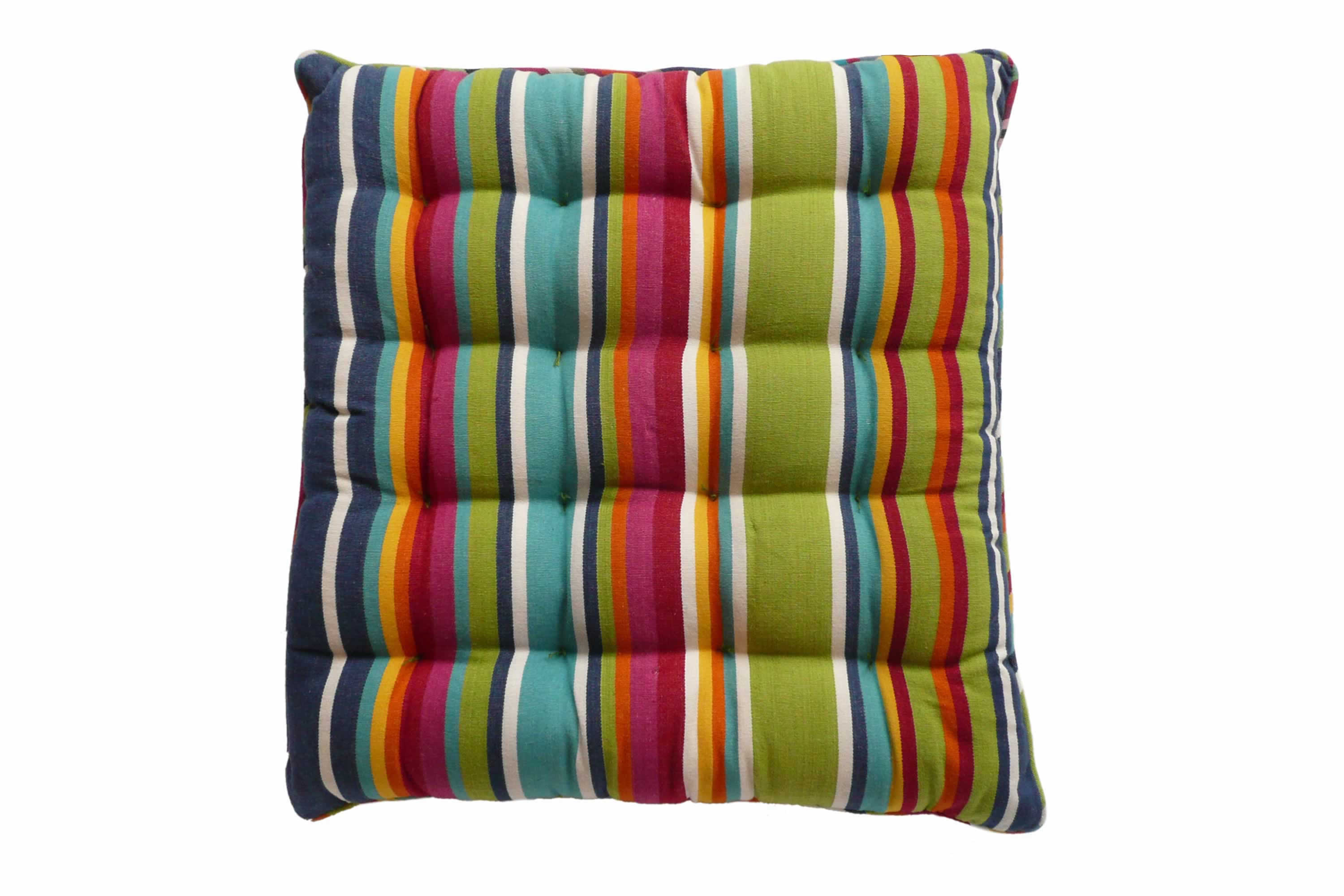 Colourful Striped Seat Pads with Piping | Square Piped Seat Pads blue, green, red
