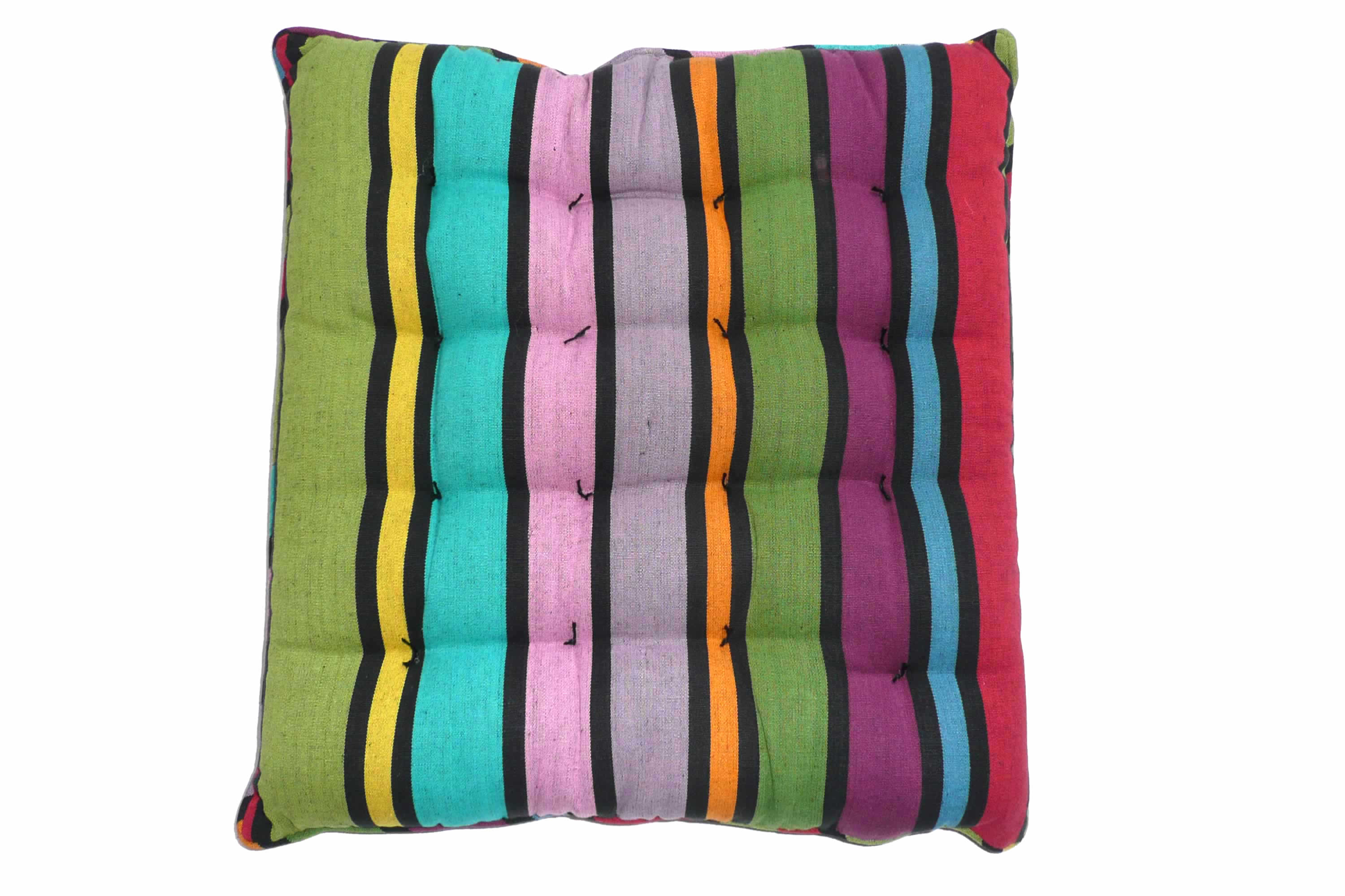 Piped Seat Pads in Bold Rainbow Stripes