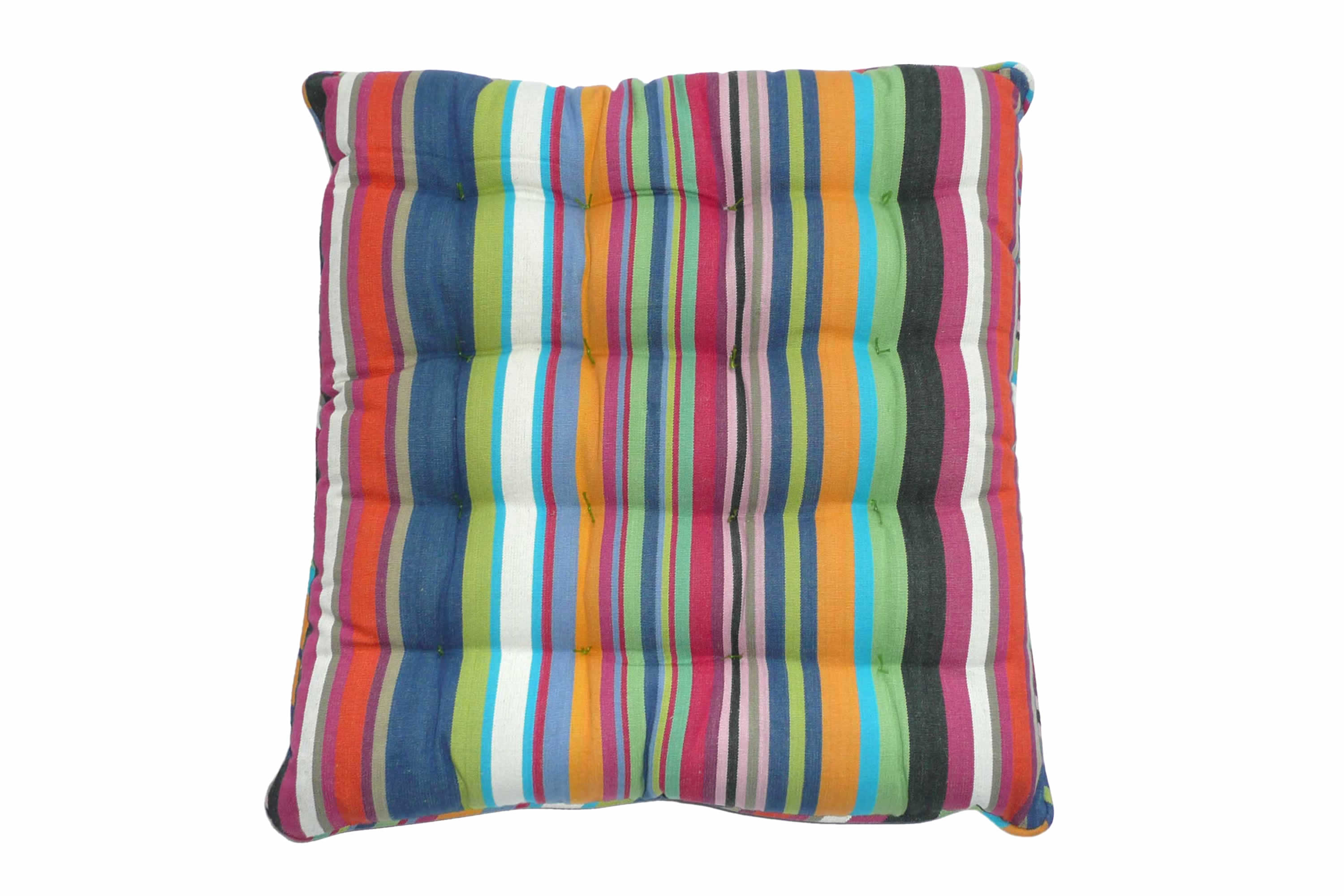 Multi-coloured Striped Seat Pads with Piping
