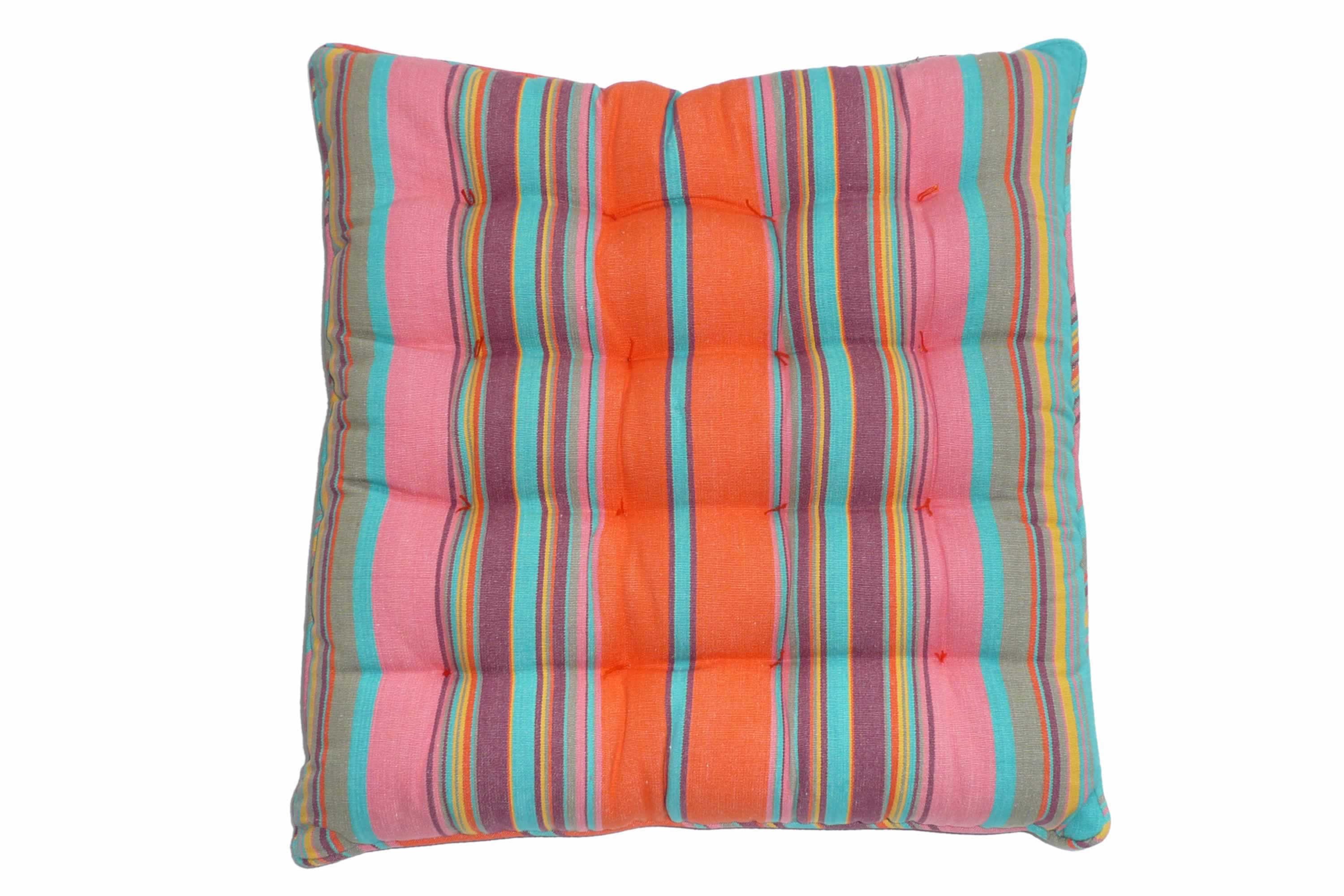 Striped Seat Pads with Piping Coral, Turquoise Blue