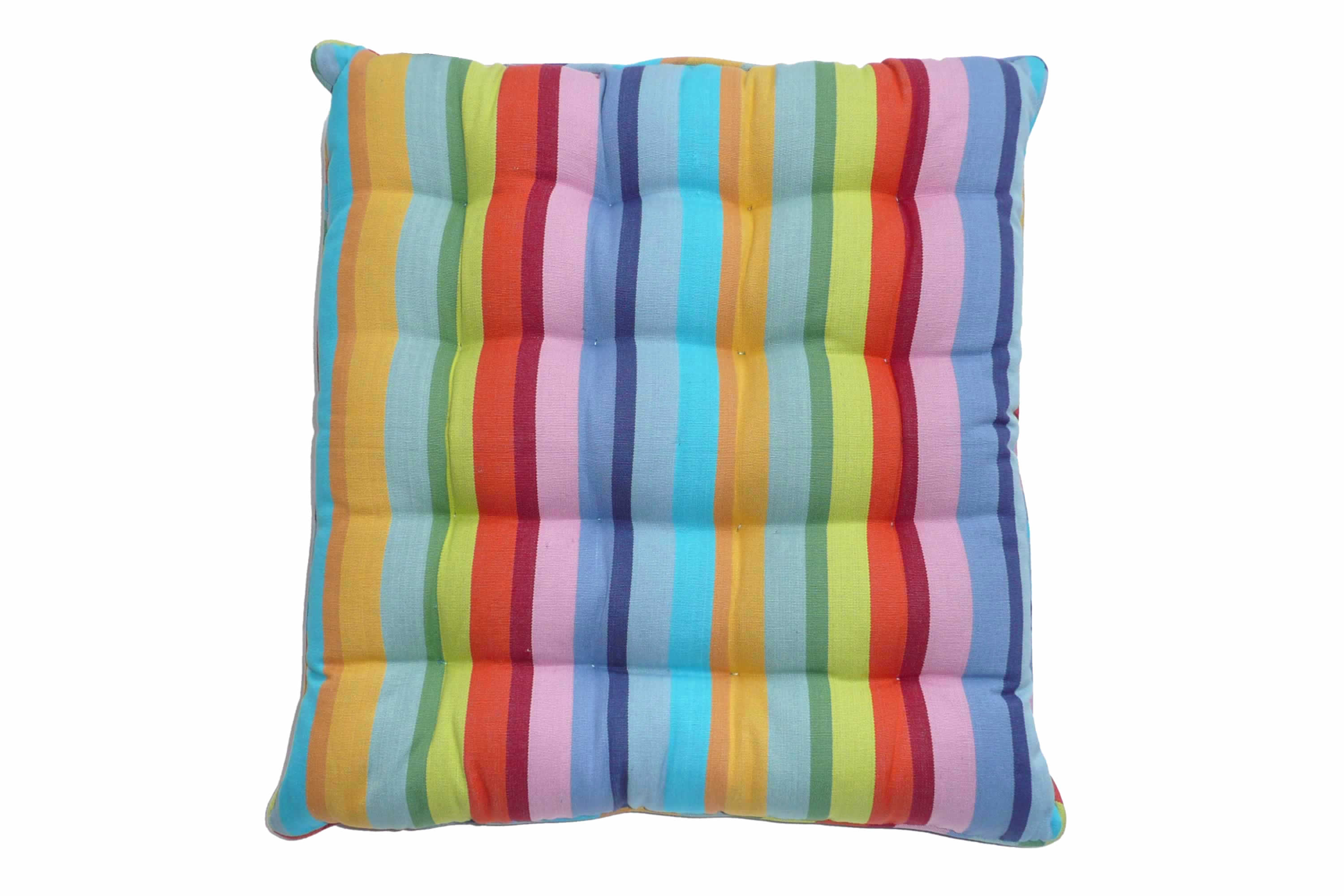 Striped Seat Pads with Piping Rainbow Stripes