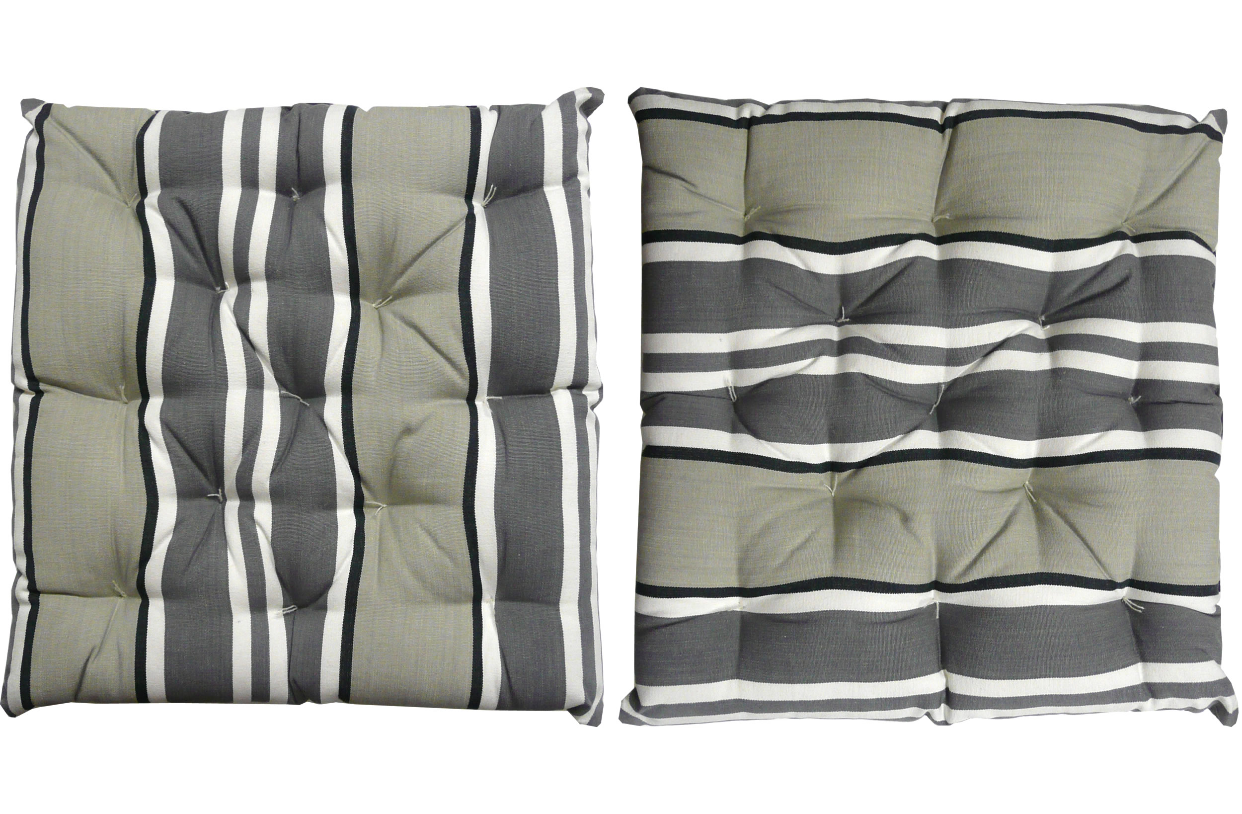 grey, pale grey, black - Seat Pad Cushions | Striped Seat Pads