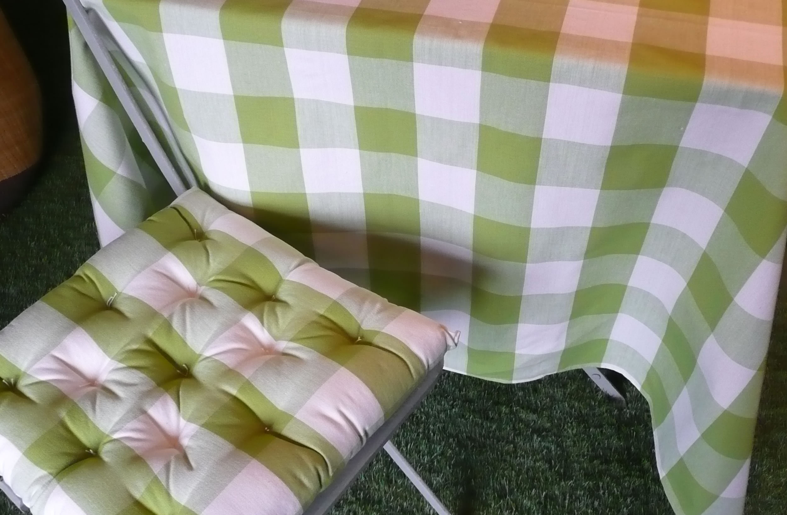 Gingham Seat Pads Green And White Large Check Chair