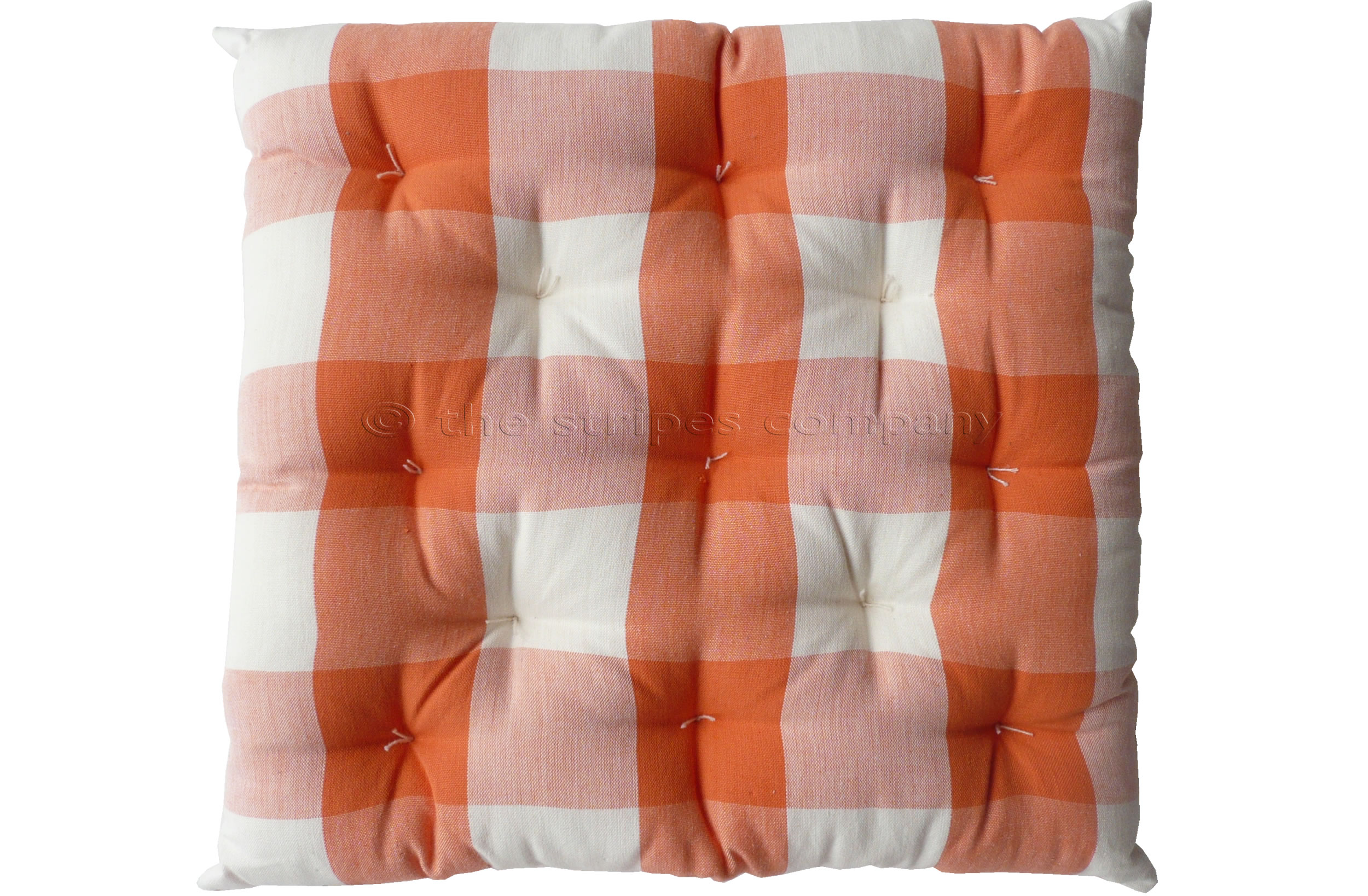 Gingham Seat Pads | Tangerine Large Check Chair Cushions | Vichy Check Seat Pads