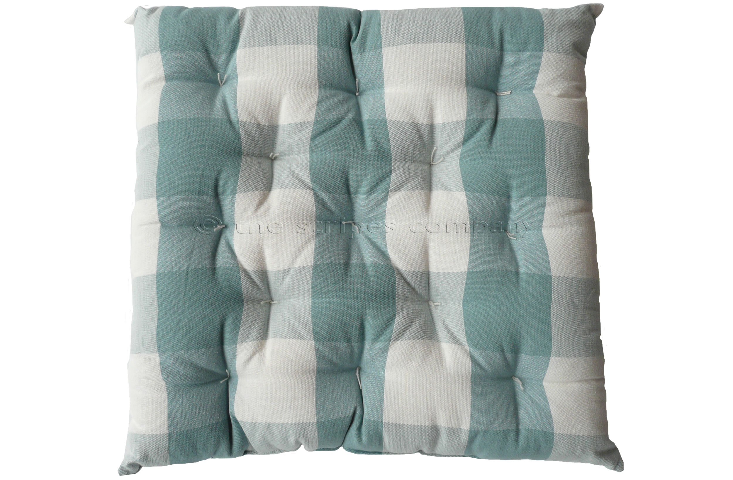 Gingham Seat Pads Teal and White | Large Check Chair Cushions | Vichy Check Seat Pads