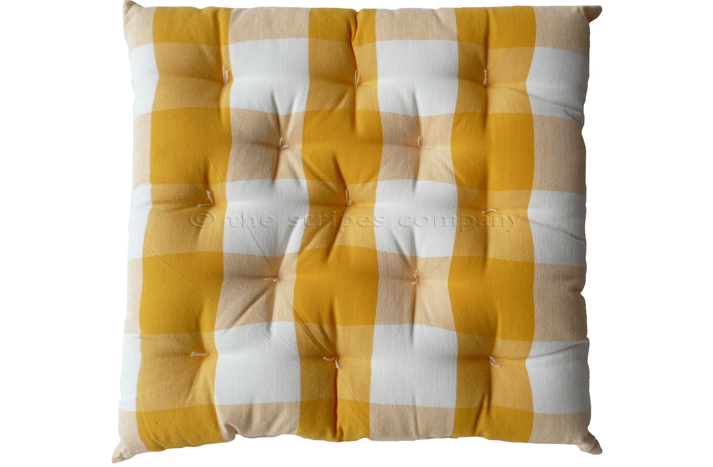 Yellow and White Gingham Seat Pads | Large Check Chair Cushions | Vichy Check Seat Pads
