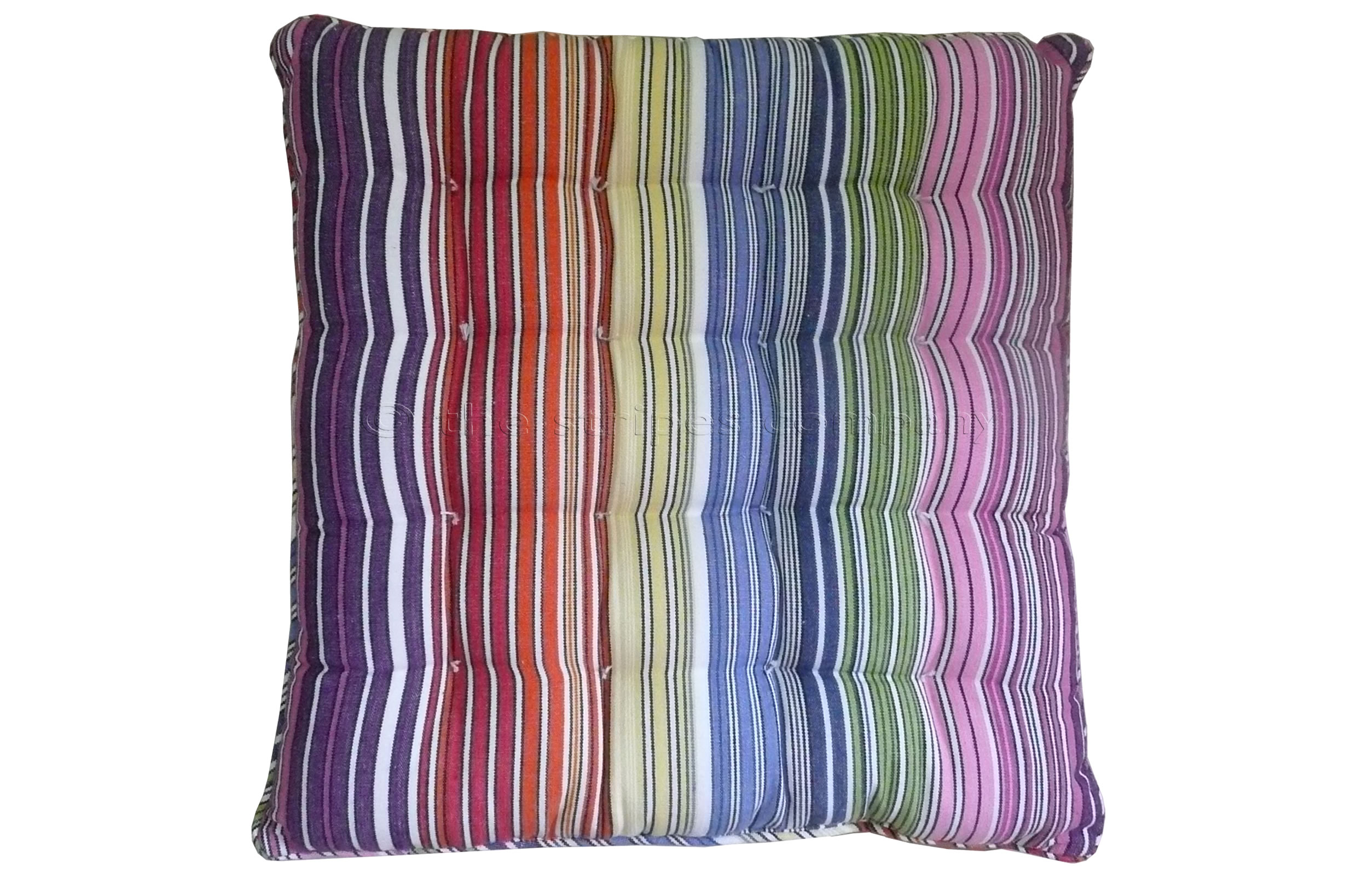 Multi Striped Seat Pads with Piping | Square Piped Seat Pads narrow rainbow and white