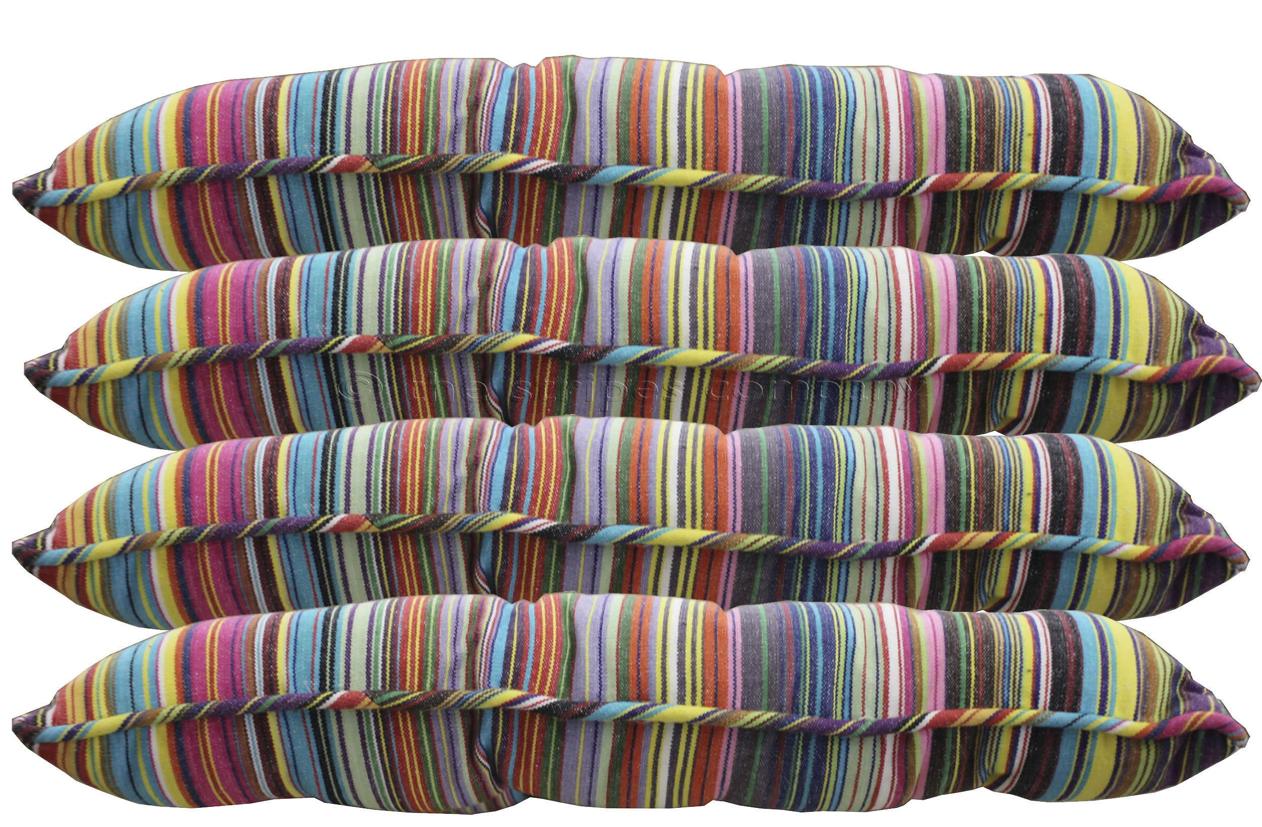thin rainbow multi stripes - Striped Seat Pads with Piping